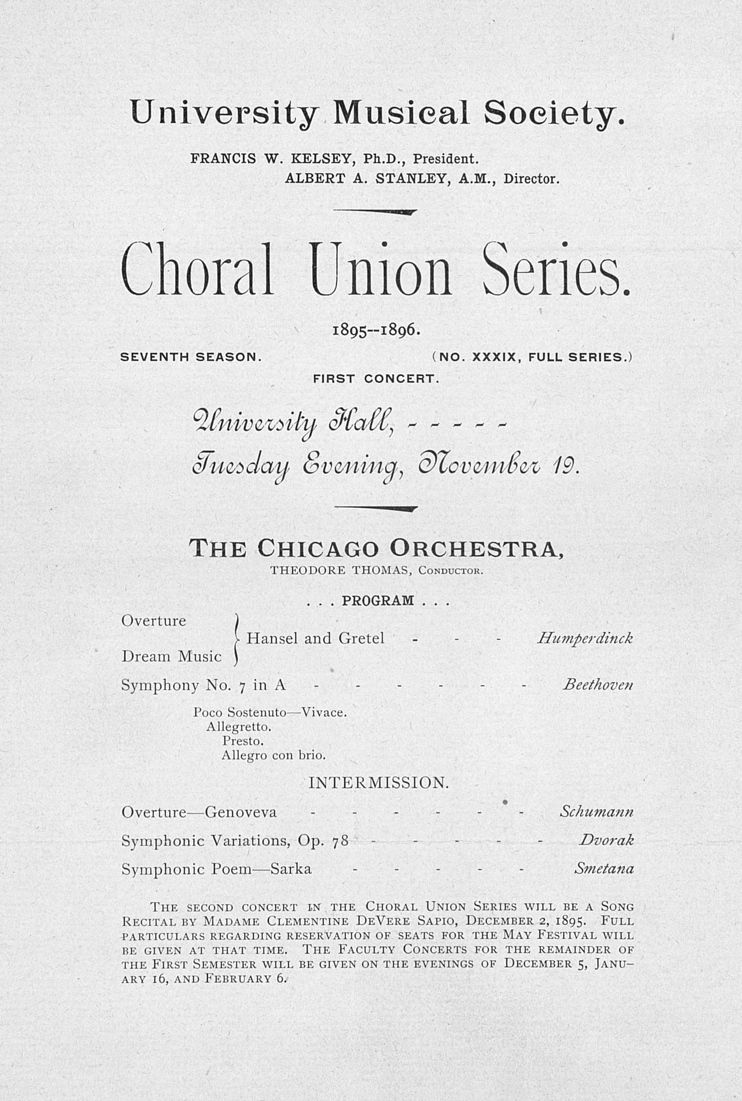 UMS Concert Program, November 19: Choral Union Series -- The Chicago Orchestra image