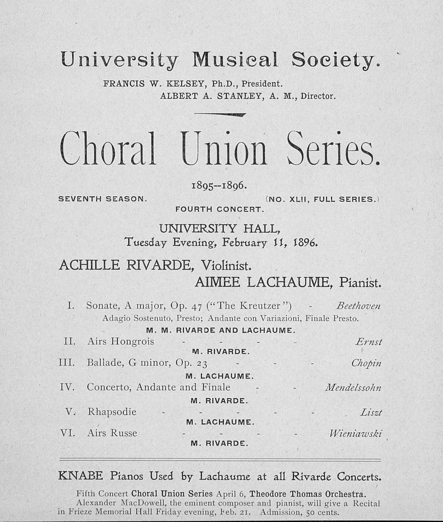 UMS Concert Program, February 11, 1896: Choral Union Series -- Achille Rivarde image