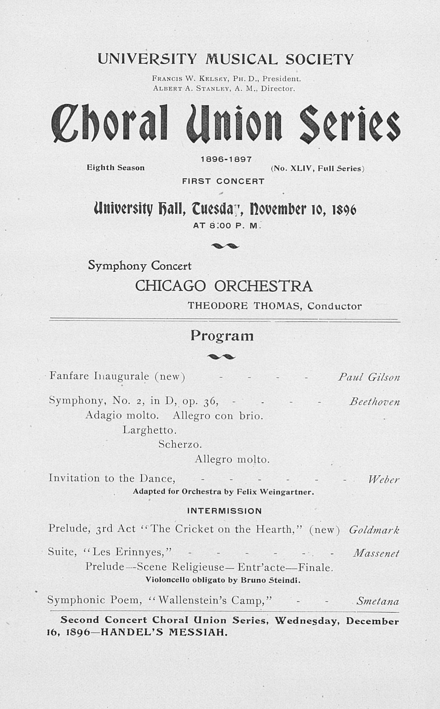 UMS Concert Program, November 10, 1896: Choral Union Series -- Chicago Orchestra image