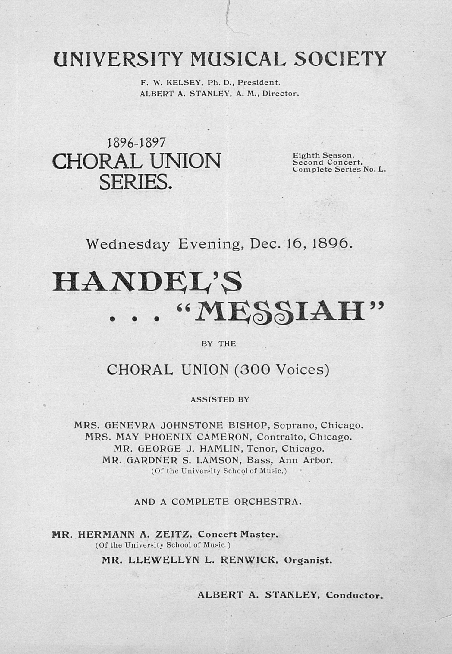"UMS Concert Program, Dec. 16, 1896: Handel's ""messiah"" -- Choral Union image"