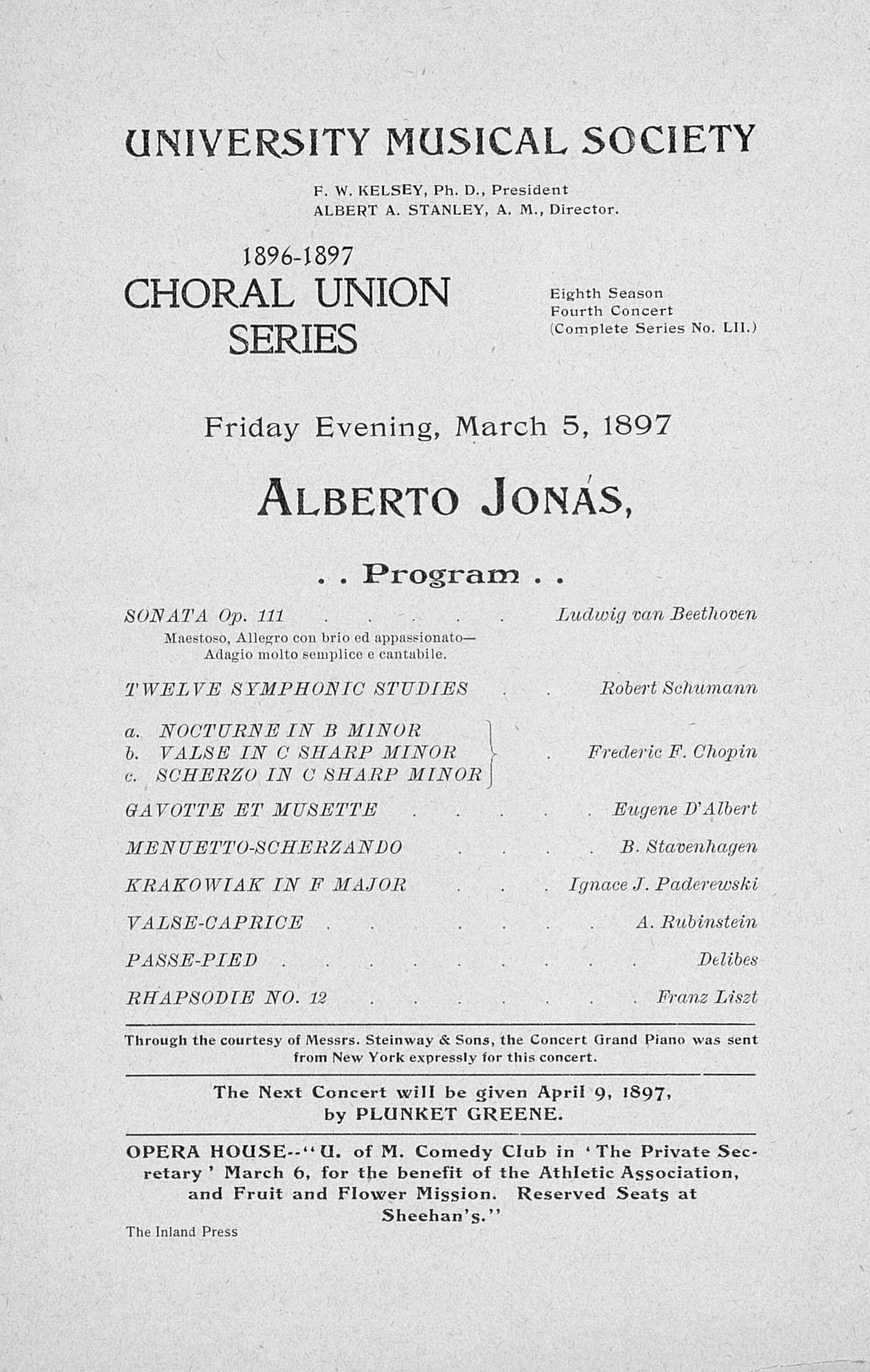 UMS Concert Program, March 5, 1897: Choral Union Series -- Alberto Jon image