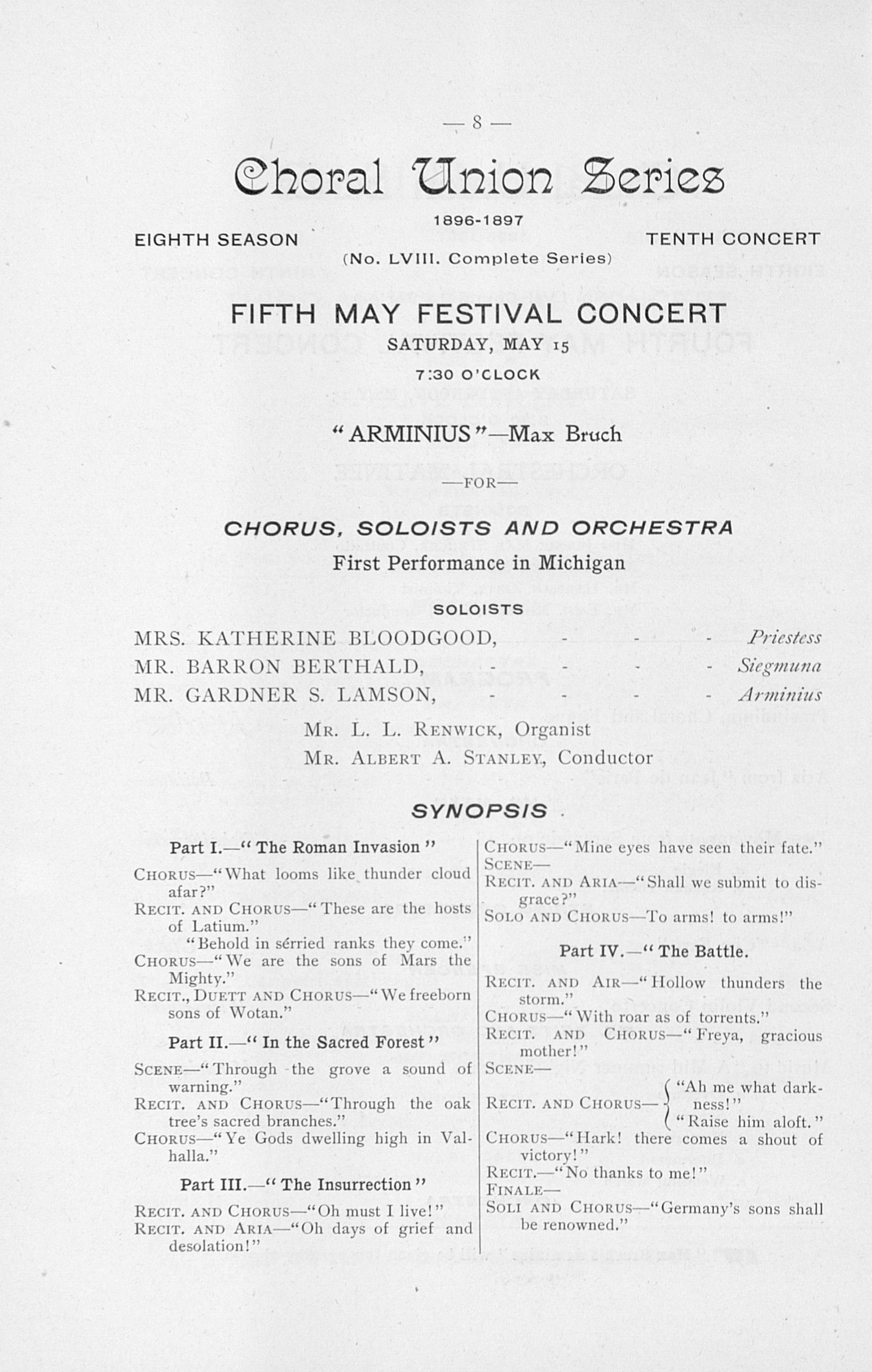 UMS Concert Program, May 13, 14, 15, 1897: May Festival -- Choral Union Series image
