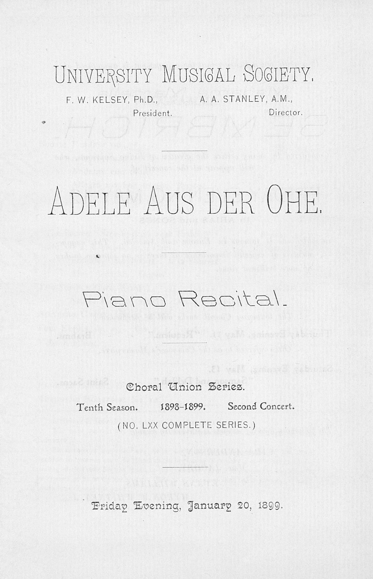 UMS Concert Program, January 20, 1899: Piano Recital -- Adele Aus Der Ohe image