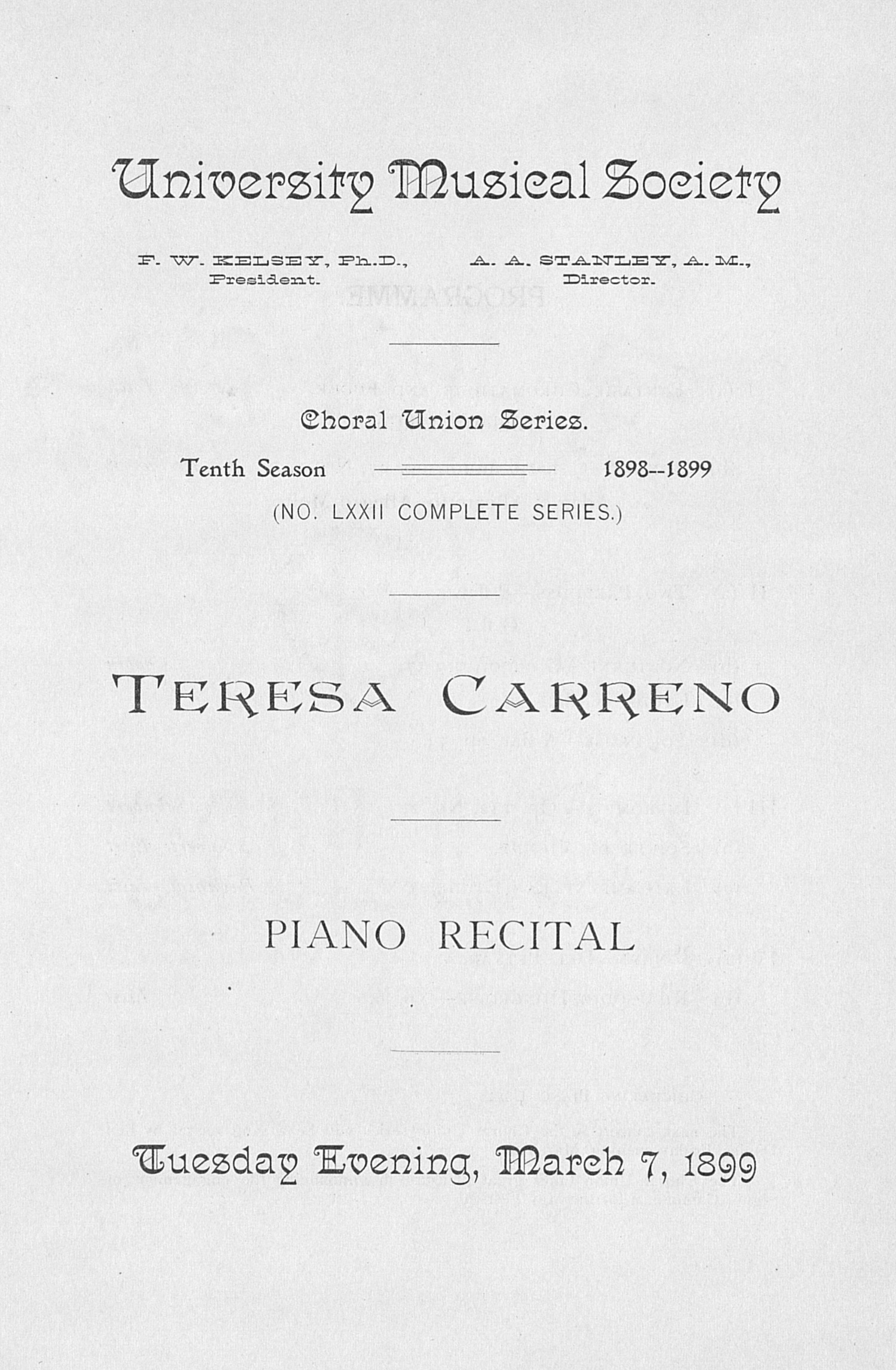 UMS Concert Program, March 7, 1899: Choral Union Series -- Teresa Carreno image