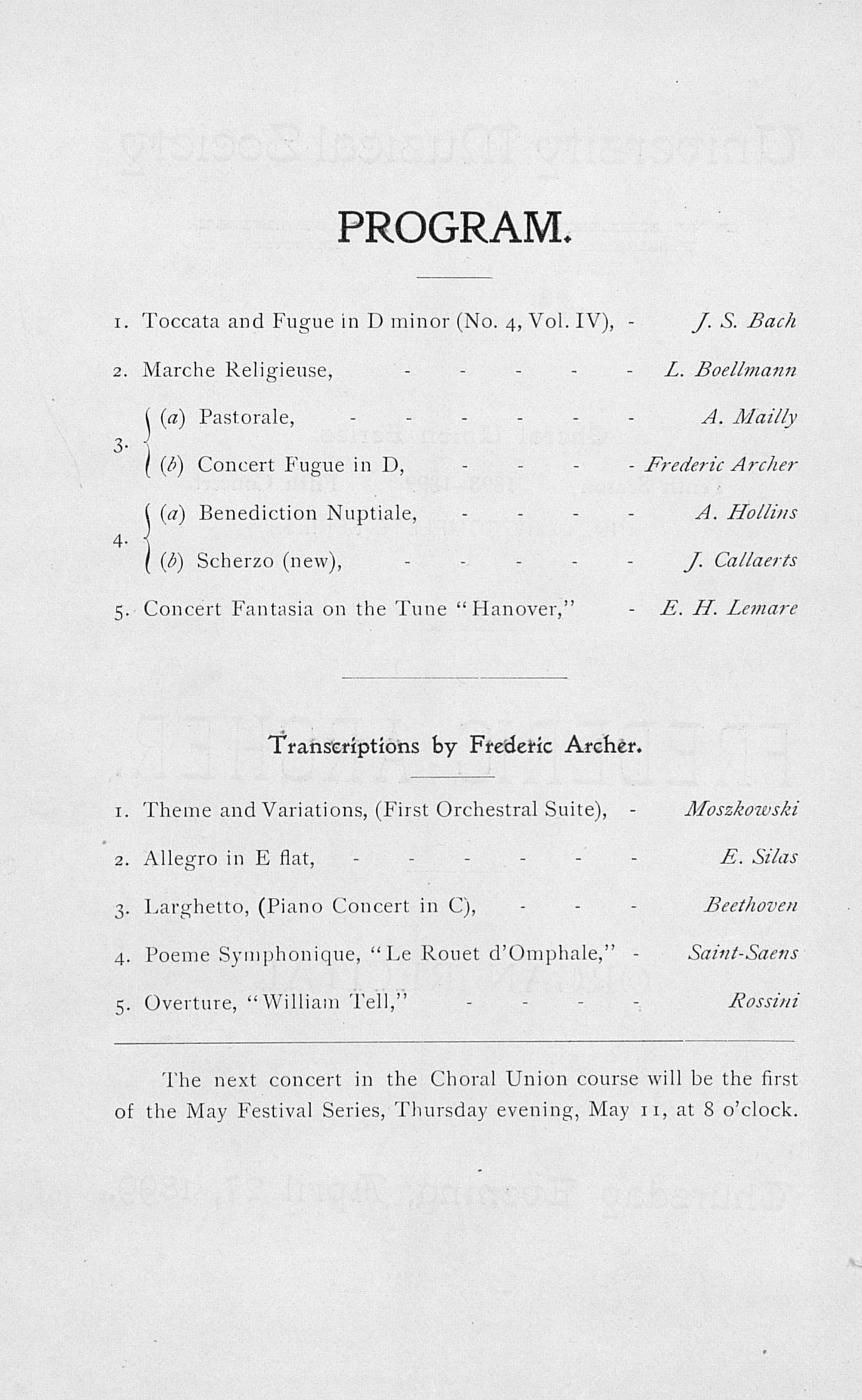 UMS Concert Program, April 27, 1899: Choral Union Series -- Frederic Archer image
