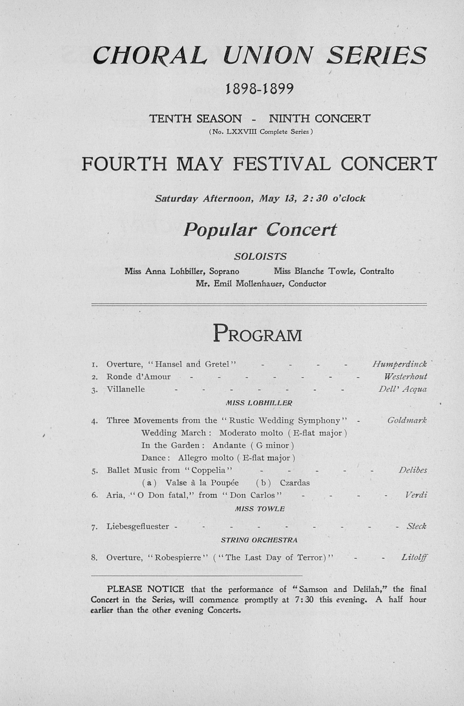 UMS Concert Program, May 11, 12, 13, 1899: Sixth Annual May Festival Of The University Of Michigan -- The Choral Union image
