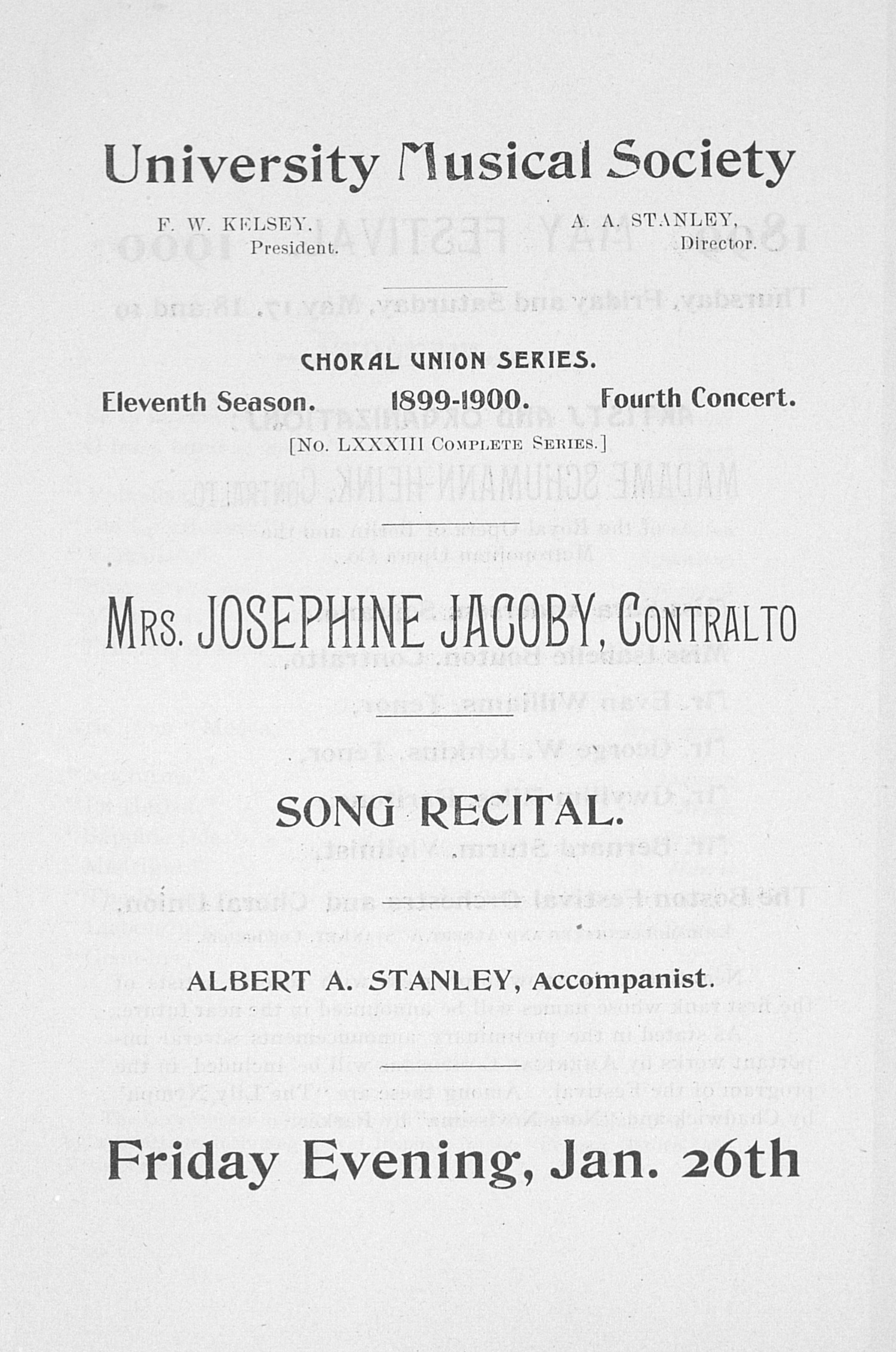 UMS Concert Program, Jan. 26th: Choral Union Series -- Mrs. Josephine Jacoby image
