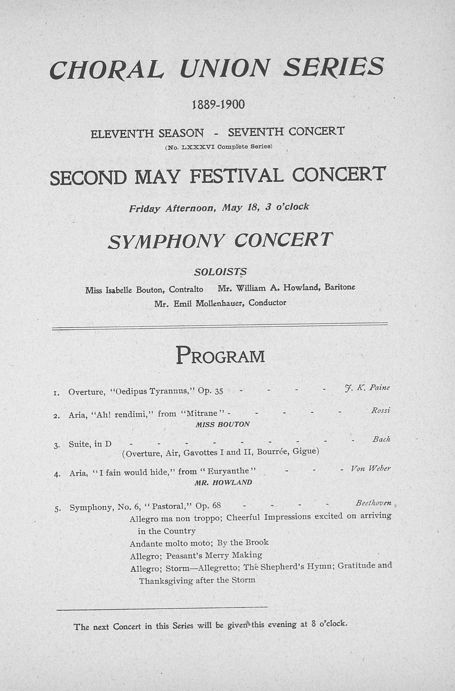 UMS Concert Program, May 17, 18, 19 1900: Seventh Annual May Festival -- The Choral Union image