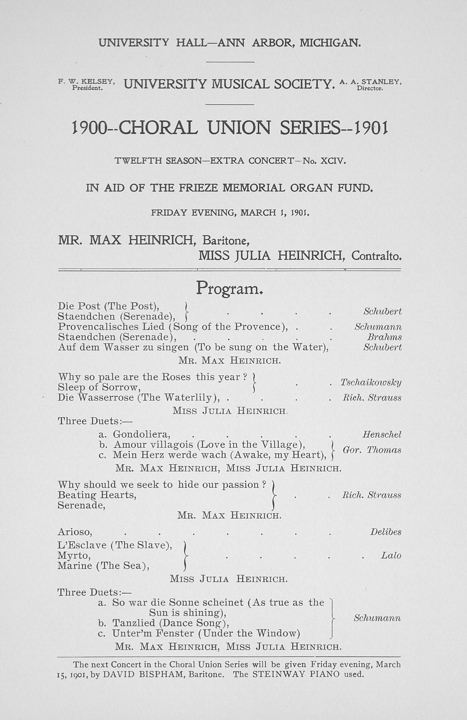 UMS Concert Program, March 1,1901: Choral Union Series --  image