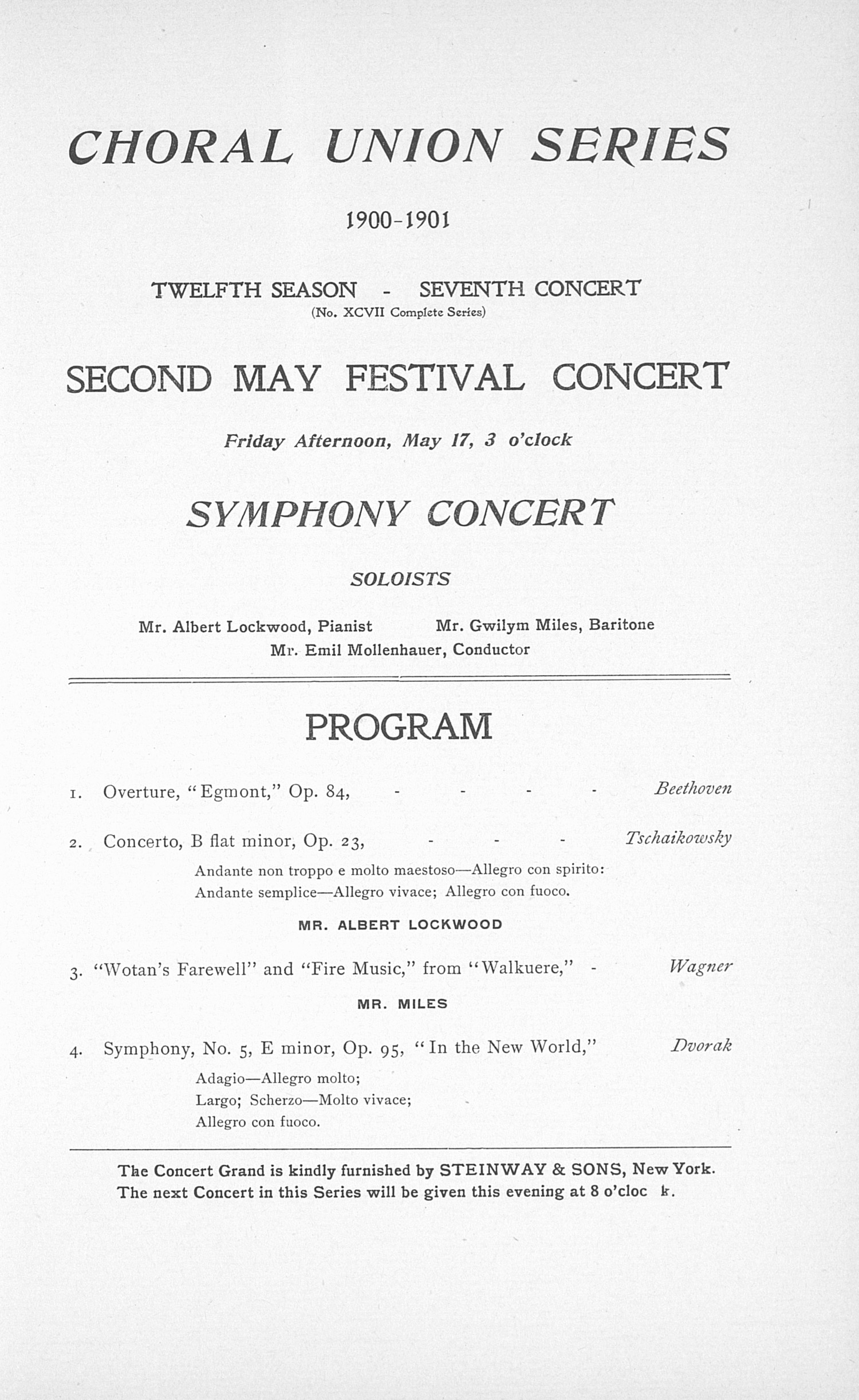 UMS Concert Program, May 16, 17, 18, 1901: Eighth Annual May