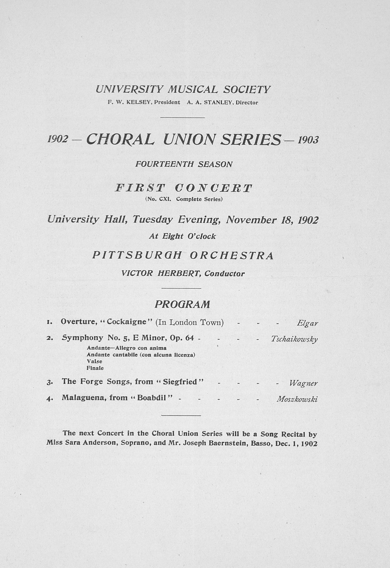 UMS Concert Program, November 18, 1902: Choral Union Series -- Pittsburgh Orchestra image