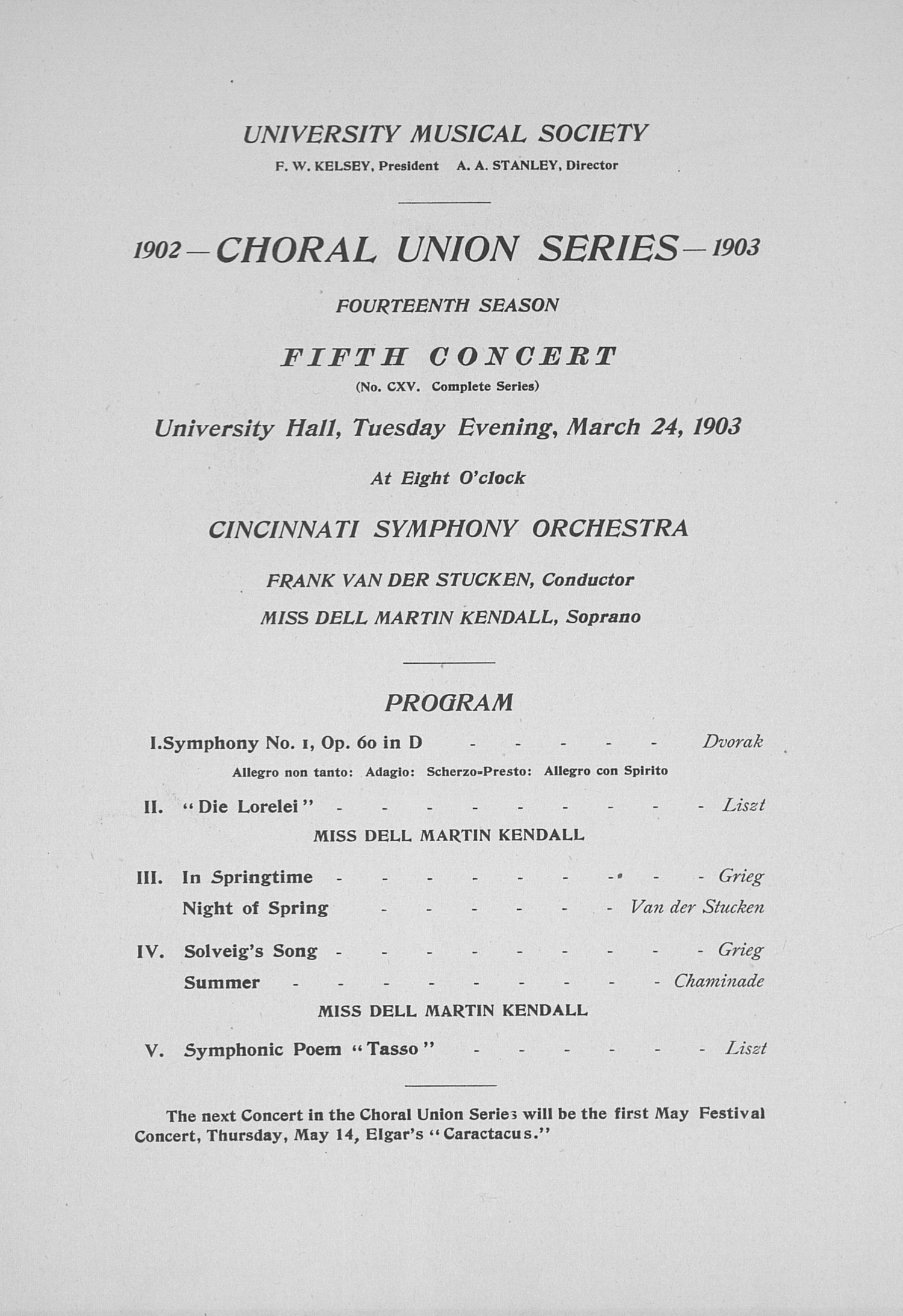 UMS Concert Program, March 24, 1903: Choral Union Series -- Cincinnati Symphony Orchestra image