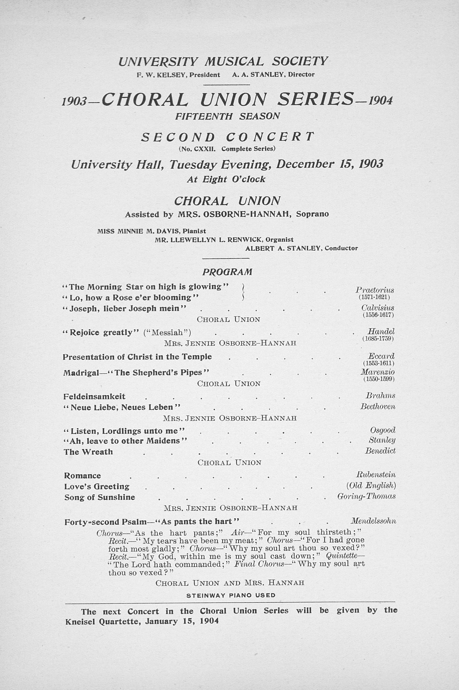 UMS Concert Program, December 15, 1903: Choral Union Series -- Choral Union image