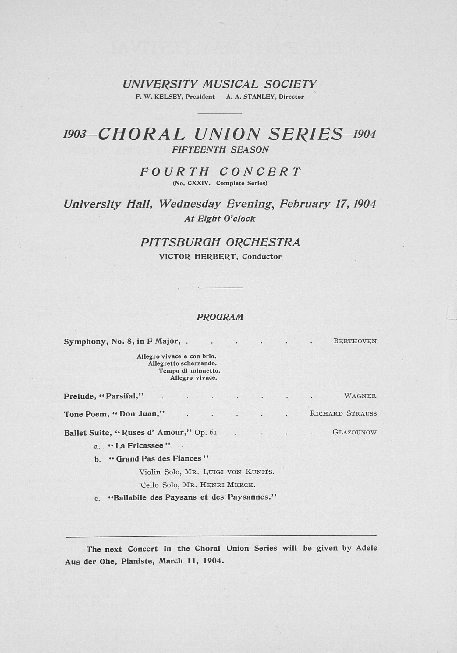 UMS Concert Program, : Choral Union Series -- Pittsburgh Orchestra image