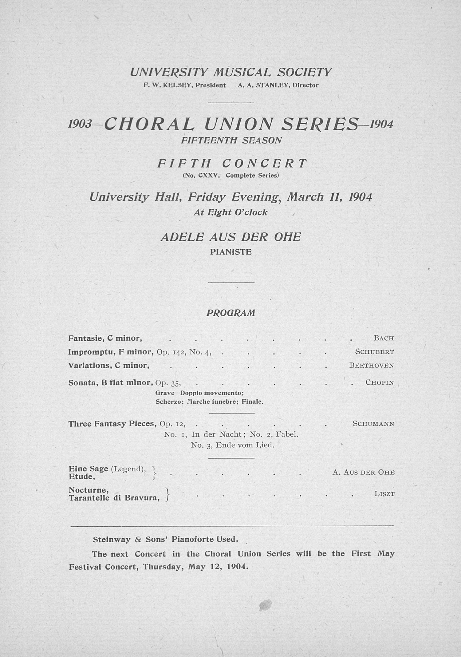 UMS Concert Program, March 11, 1904: Choral Union Series -- Adele Aus Der Ohe image