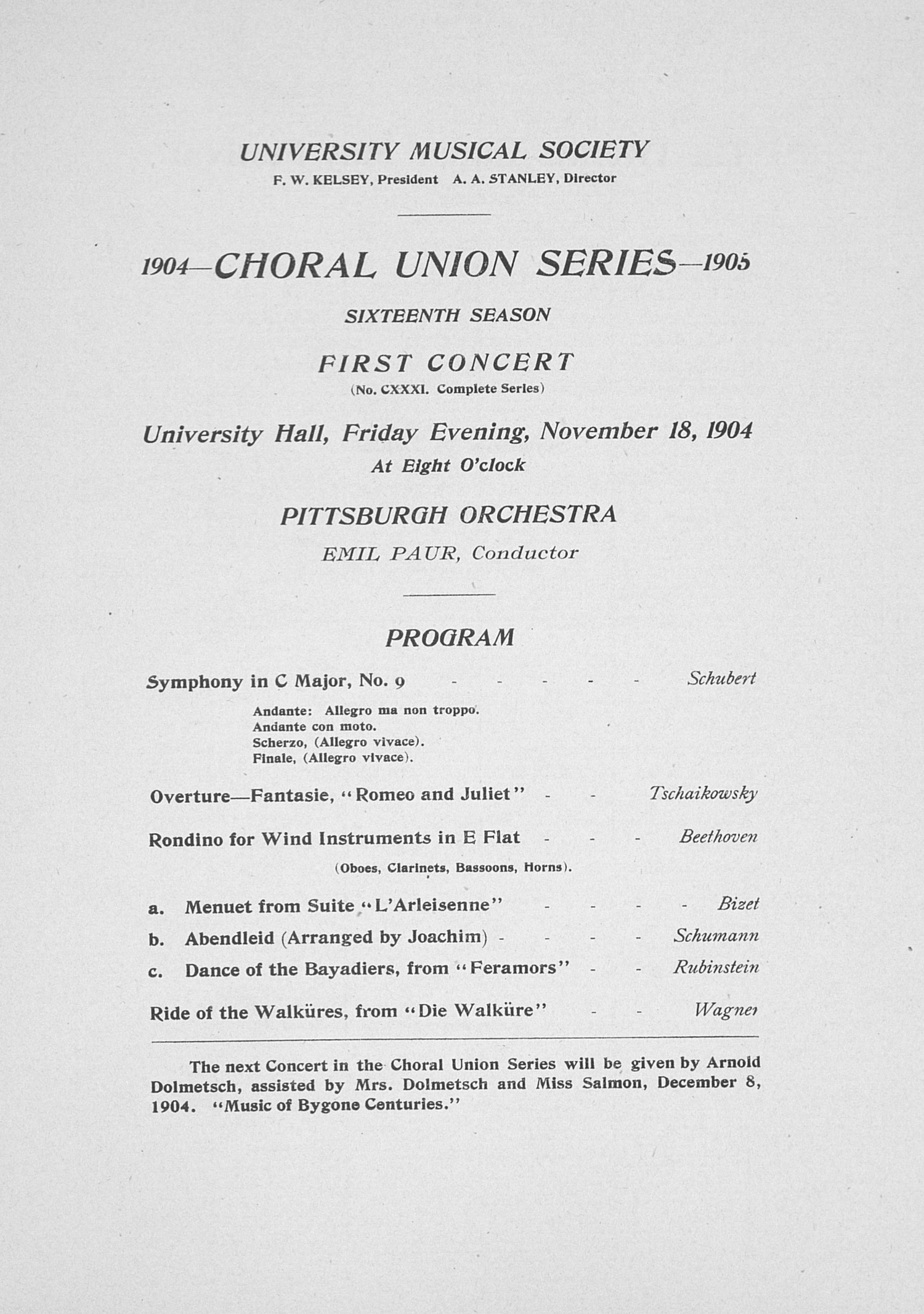 UMS Concert Program, November 18, 1904: Choral Union Series -- Pittsburgh Orchestra image