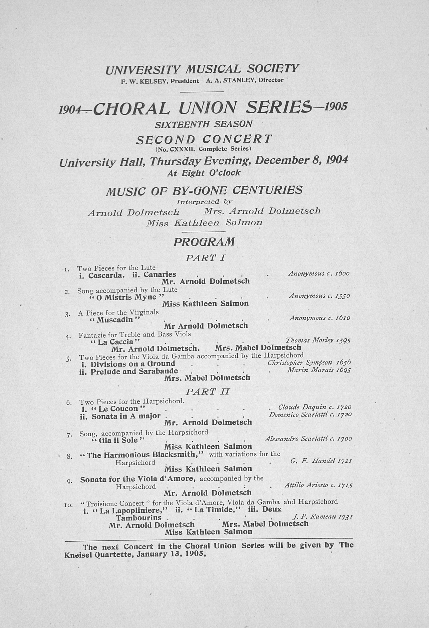 UMS Concert Program, December 8, 1904: Choral Union Series -- Gone Centuries image
