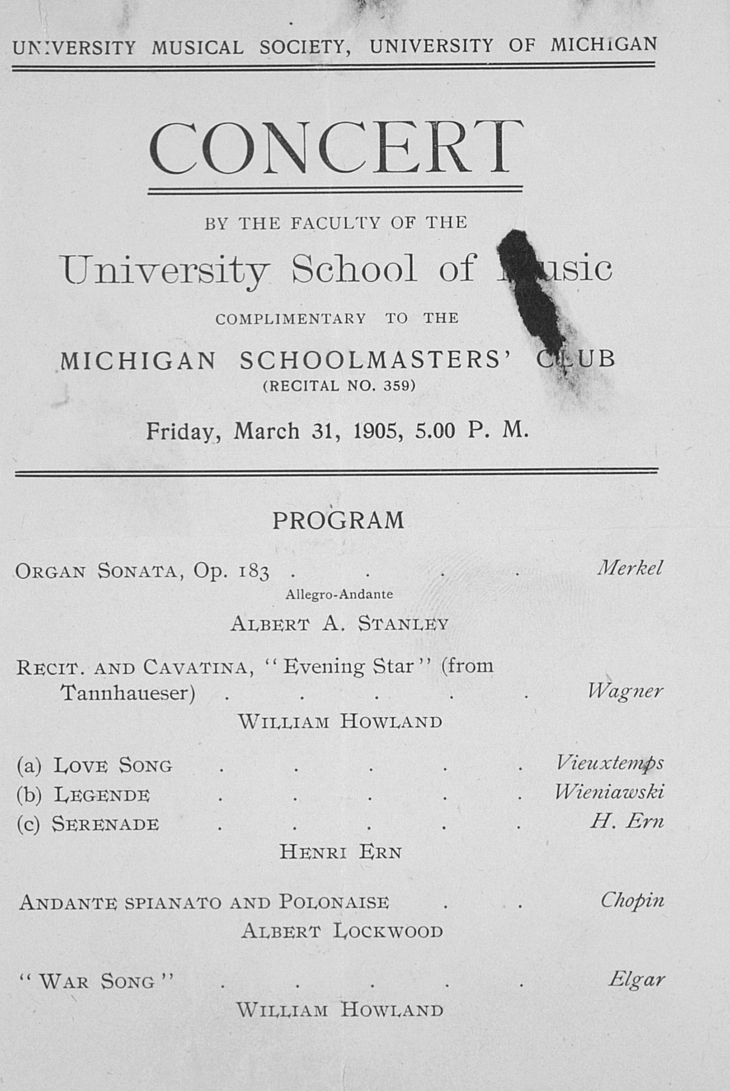 UMS Concert Program, March 31, 1905: Concert --  image