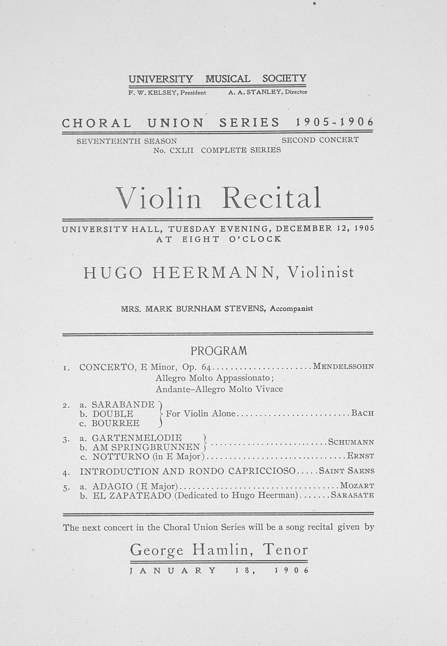 UMS Concert Program, December 12, 1905: Choral Union Series -- Violin Recital image