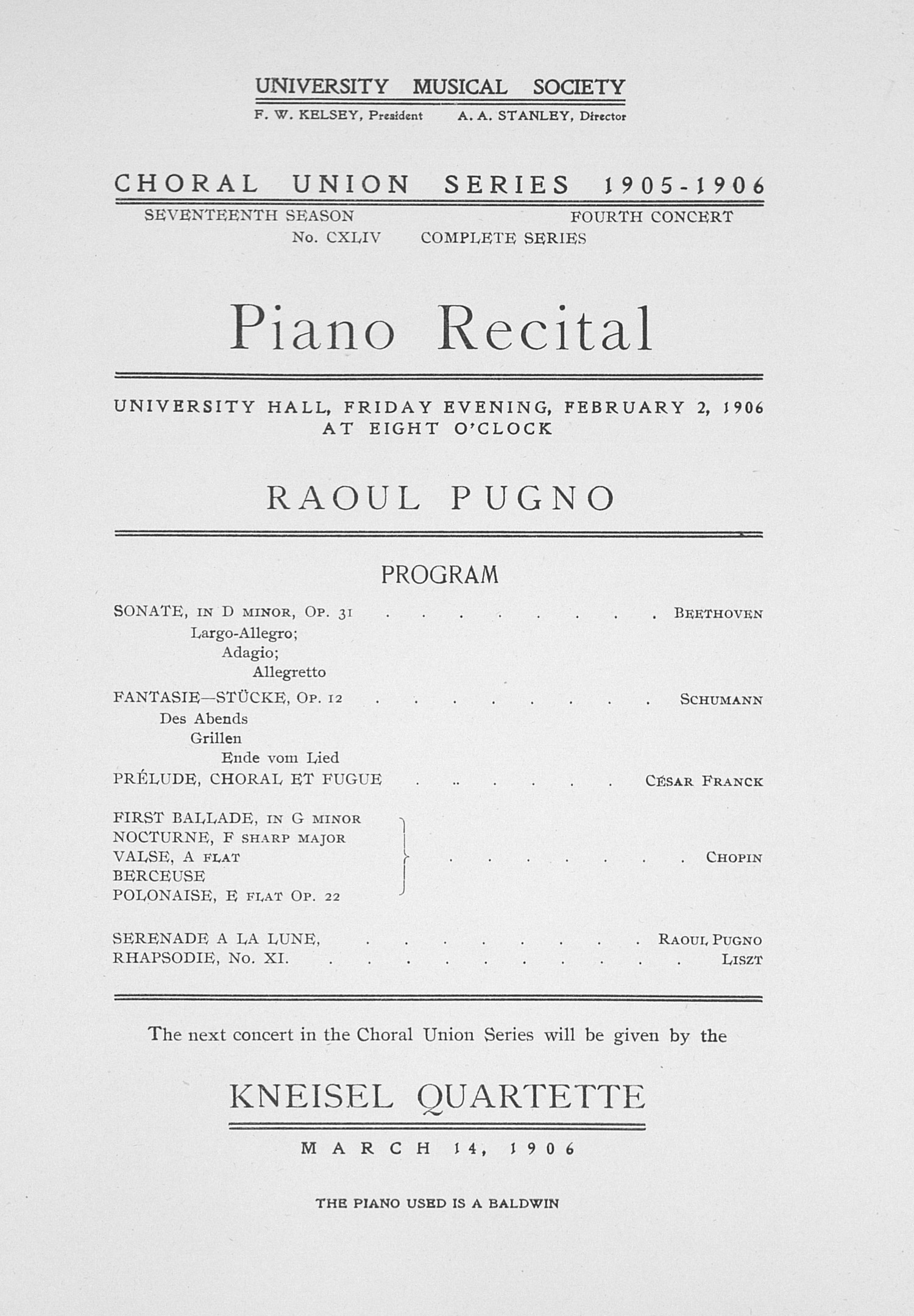 UMS Concert Program, February 2, 1906: Choral Union Series -- Piano Recital image