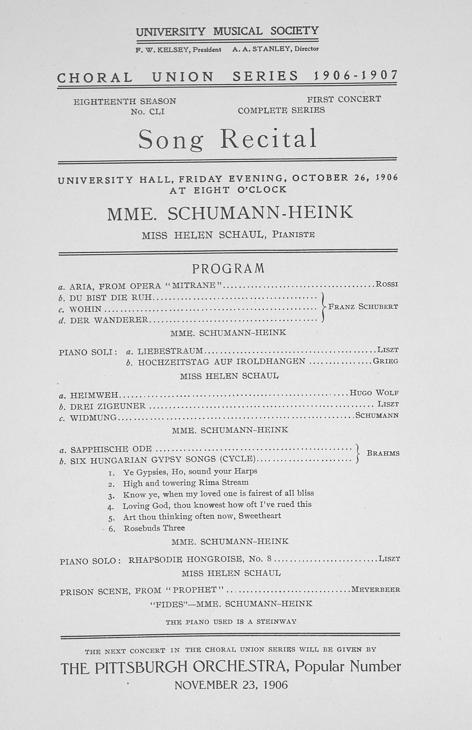 UMS Concert Program, October 26, 1906: Choral Union Series -- Song Recital image