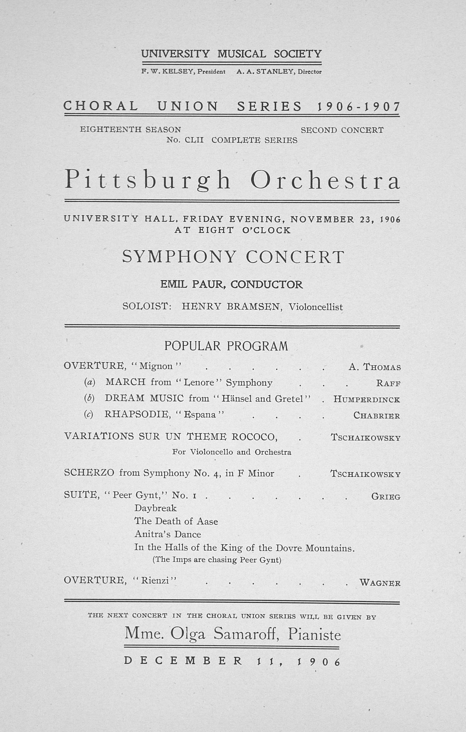 UMS Concert Program, November 23, 1906: Choral Union Series -- Pittsburgh Orchestra image