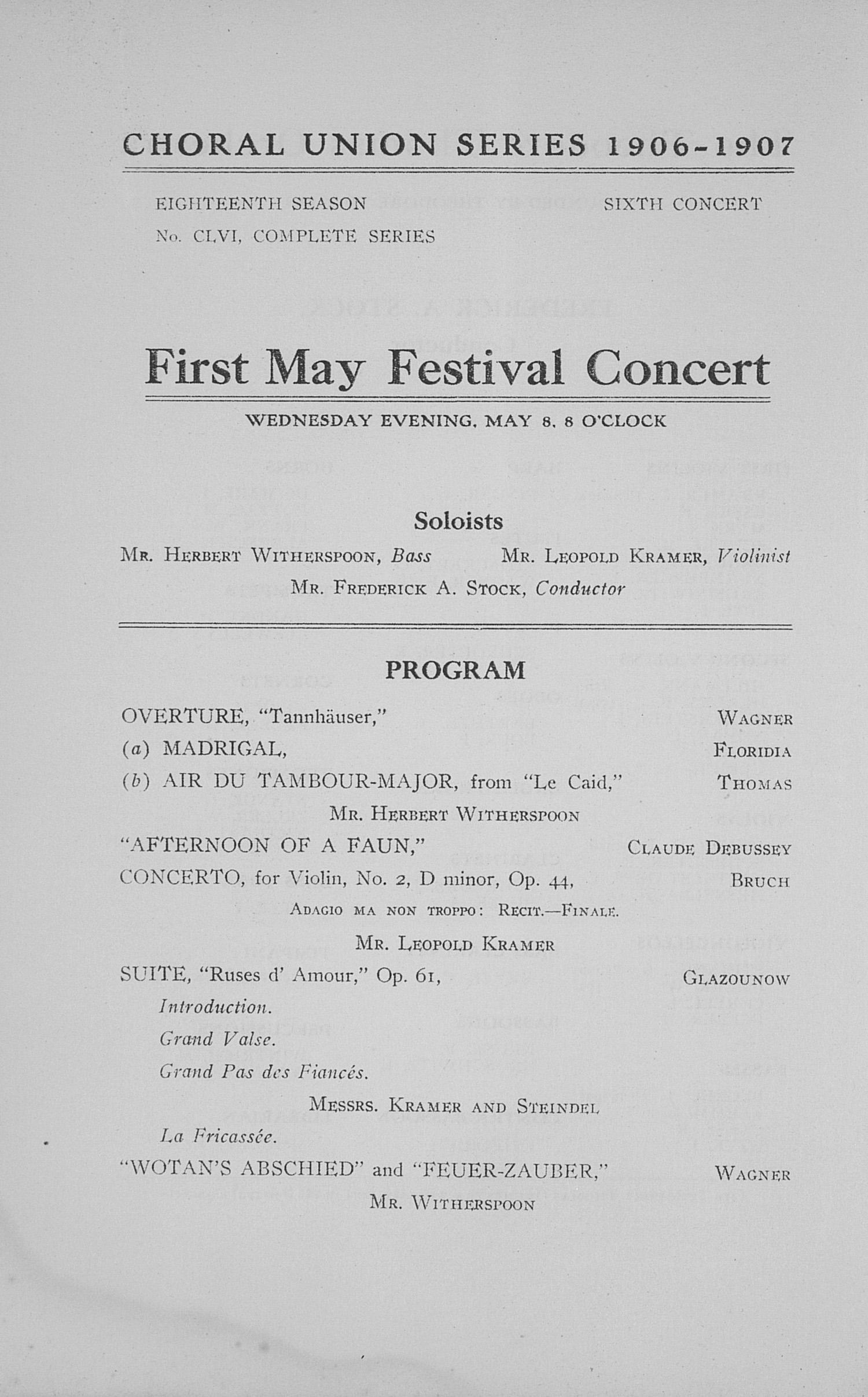 UMS Concert Program, May 8, 9, 10, 11, 1907: Fourteenth