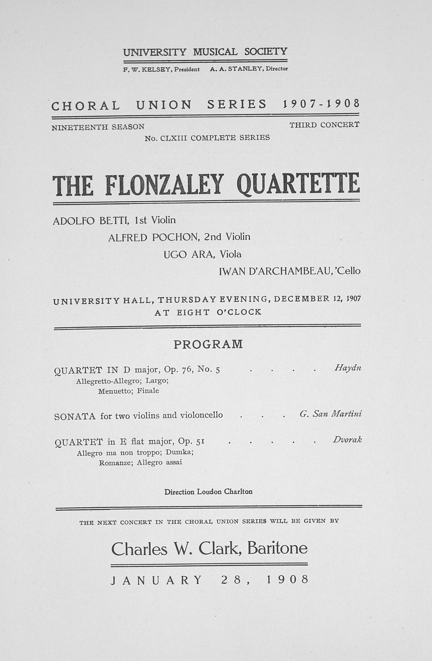 UMS Concert Program, December 12, 1907: Choral Union Series -- The Flonzaley Quartette image
