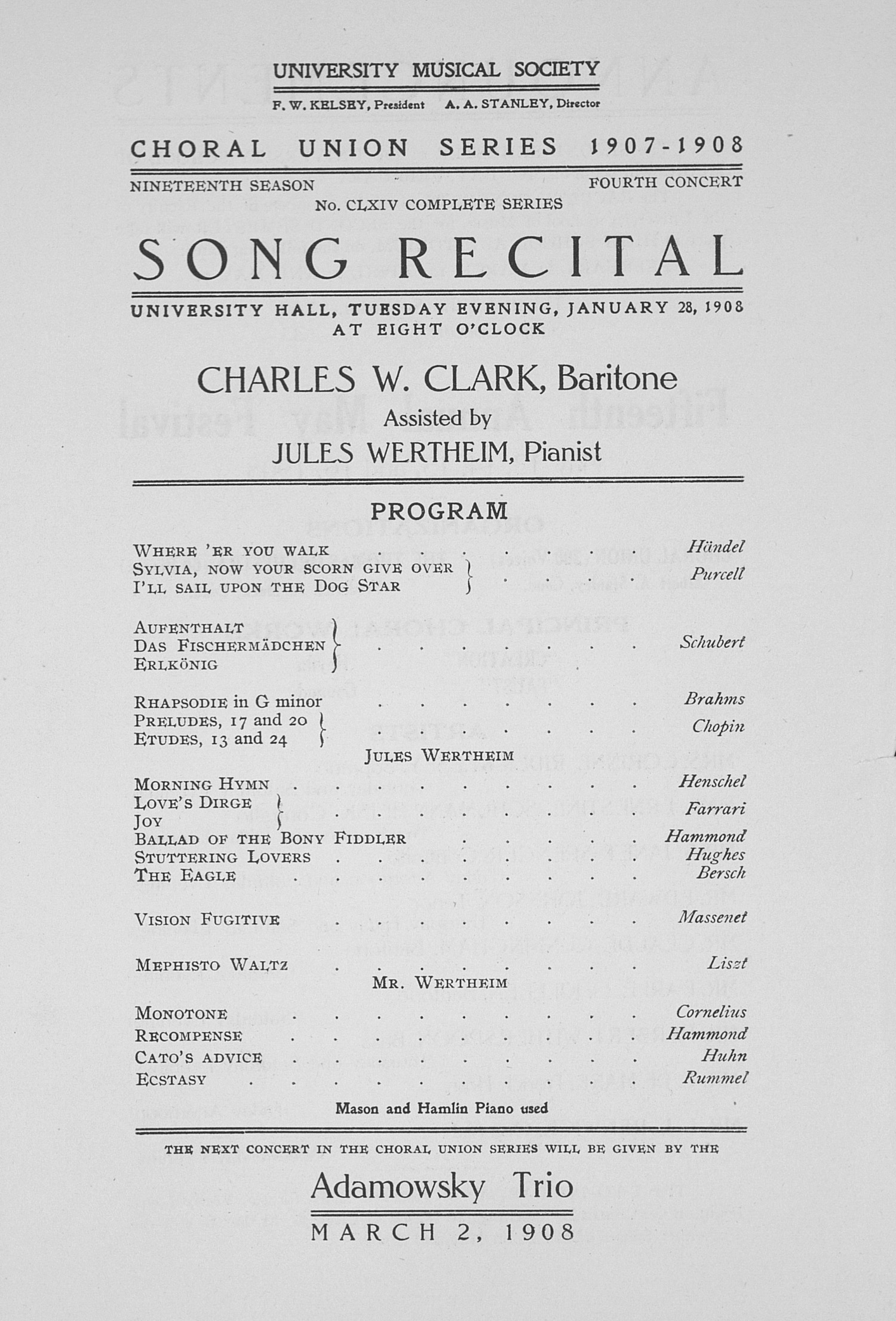 UMS Concert Program, January 28, 1908: Song Recital -- Charles W. Clark image