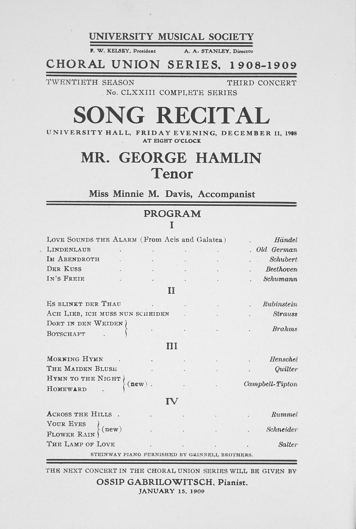 UMS Concert Program, December 11, 1908: Song Recital -- Mr. George Hamlin image