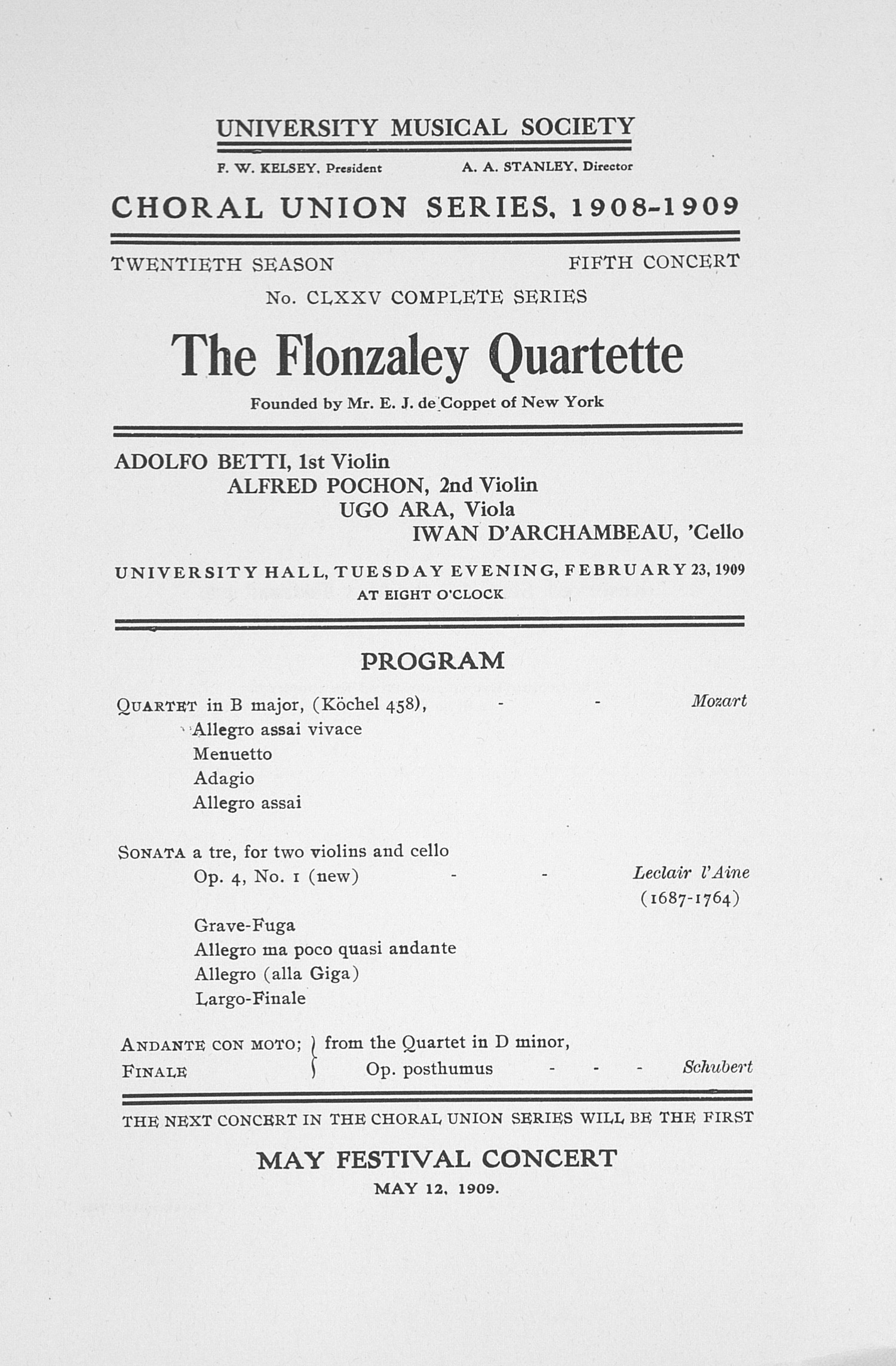UMS Concert Program, February 23,1909: Choral Union Series -- The Flonzaley Quartette image