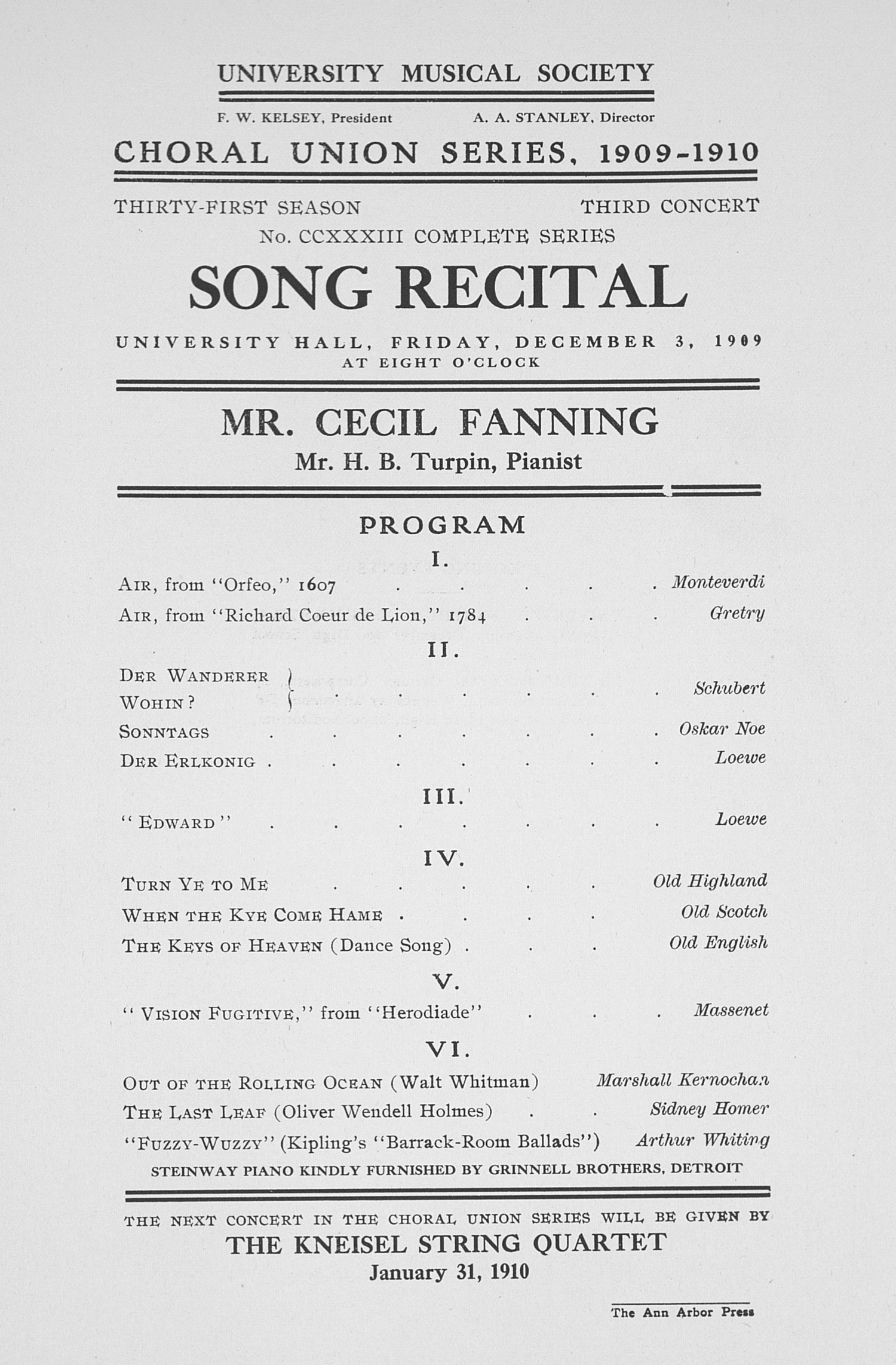 UMS Concert Program, December 3, 1909: Song Recital -- Mr. Cecil Fanning image