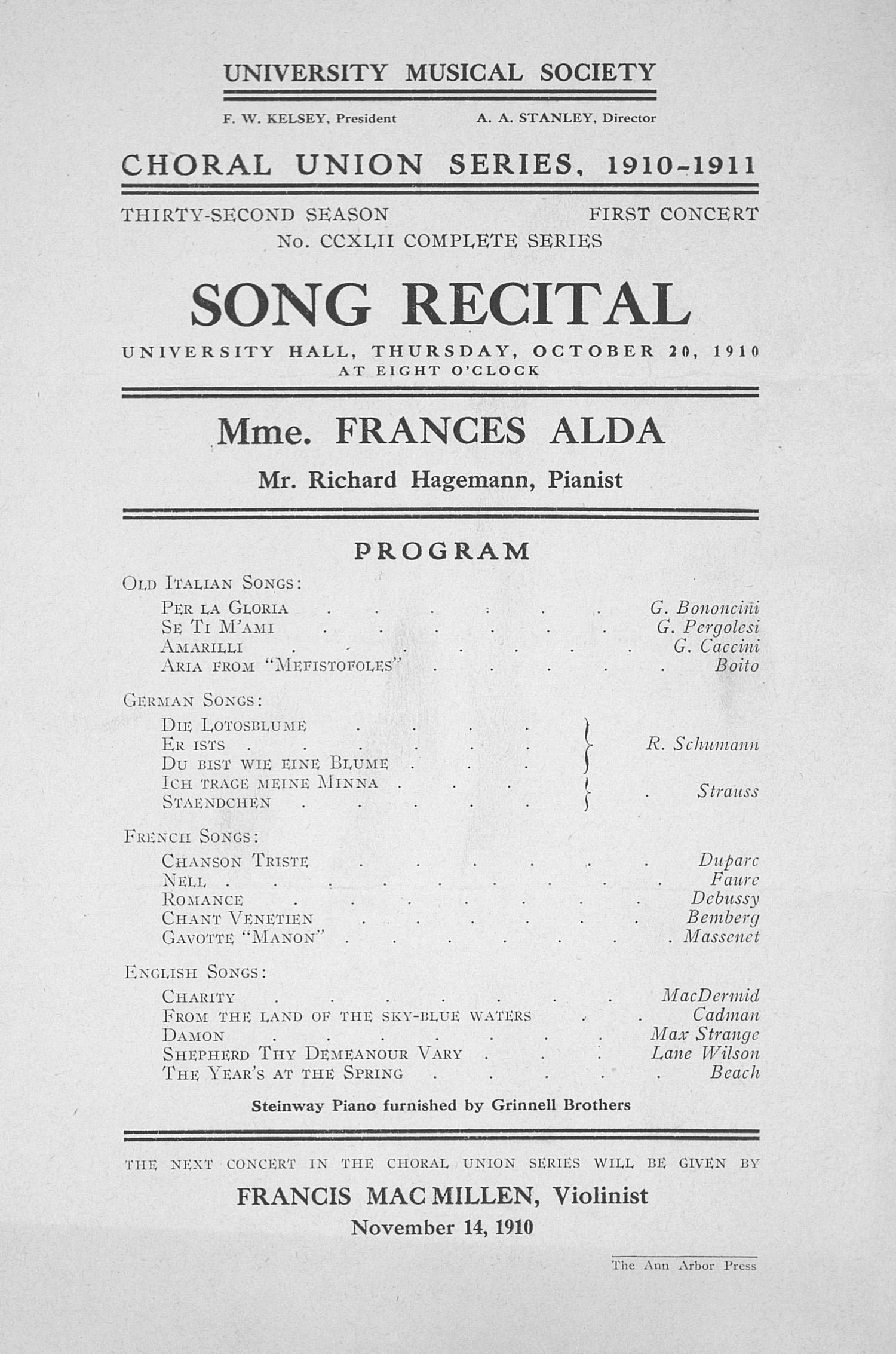 UMS Concert Program, October 20, 1910: Song Recital -- Mme. Frances Alda image