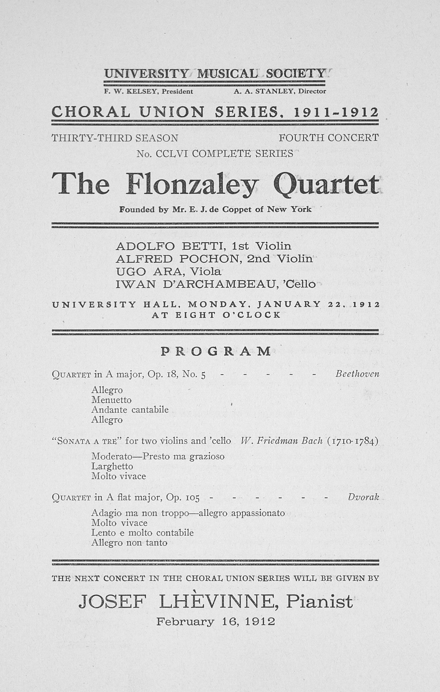 UMS Concert Program, January 22, 1912: Choral Union Series -- The Flonzaley Quartet image