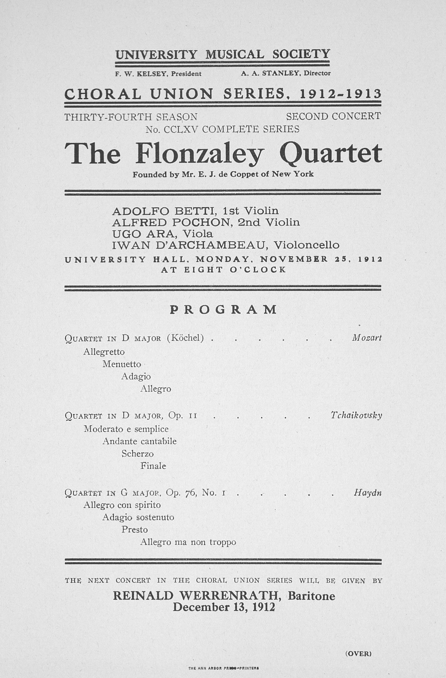 UMS Concert Program, November 25, 1912: The Flonzaley Quartet -- Mr. E. J. De Coppet image