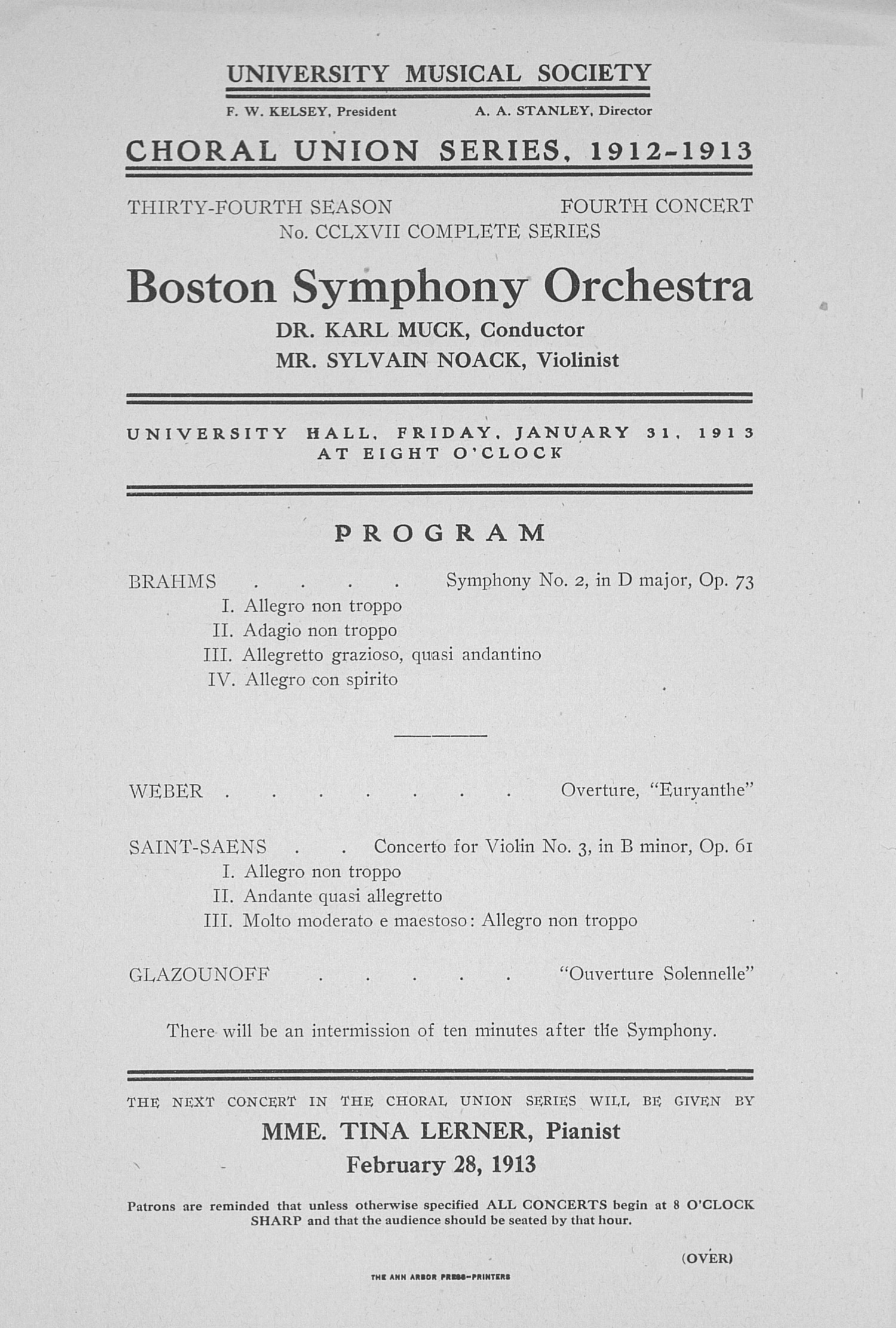 UMS Concert Program, January 31, 1913: Choral Union Series -- Boston Symphony Orchestra image