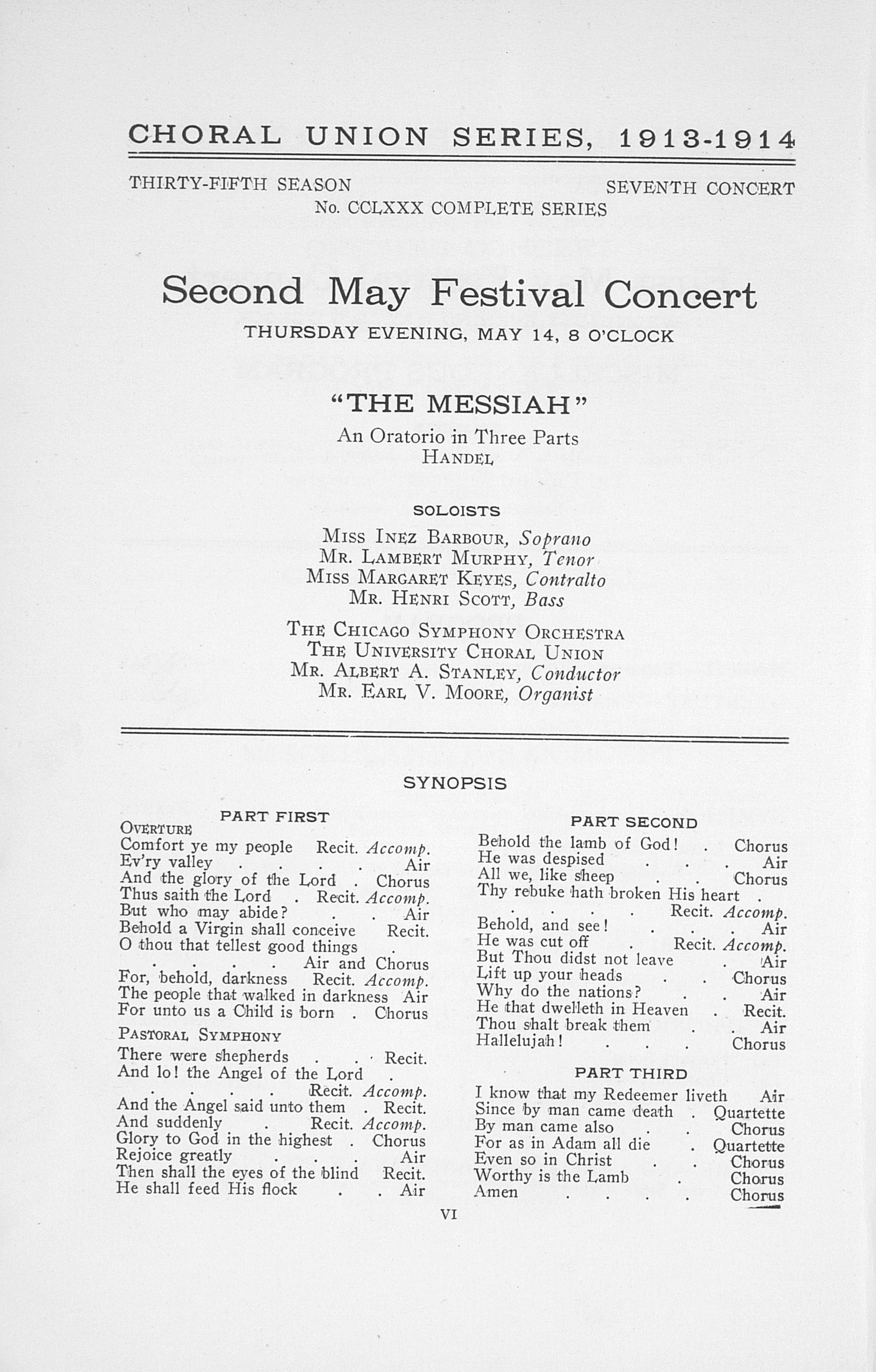 UMS Concert Program, May 13, 14, 15, 16, 1914: Twenty-first Annual May Festival Of The University Of Michigan -- Albert A. Stanley image
