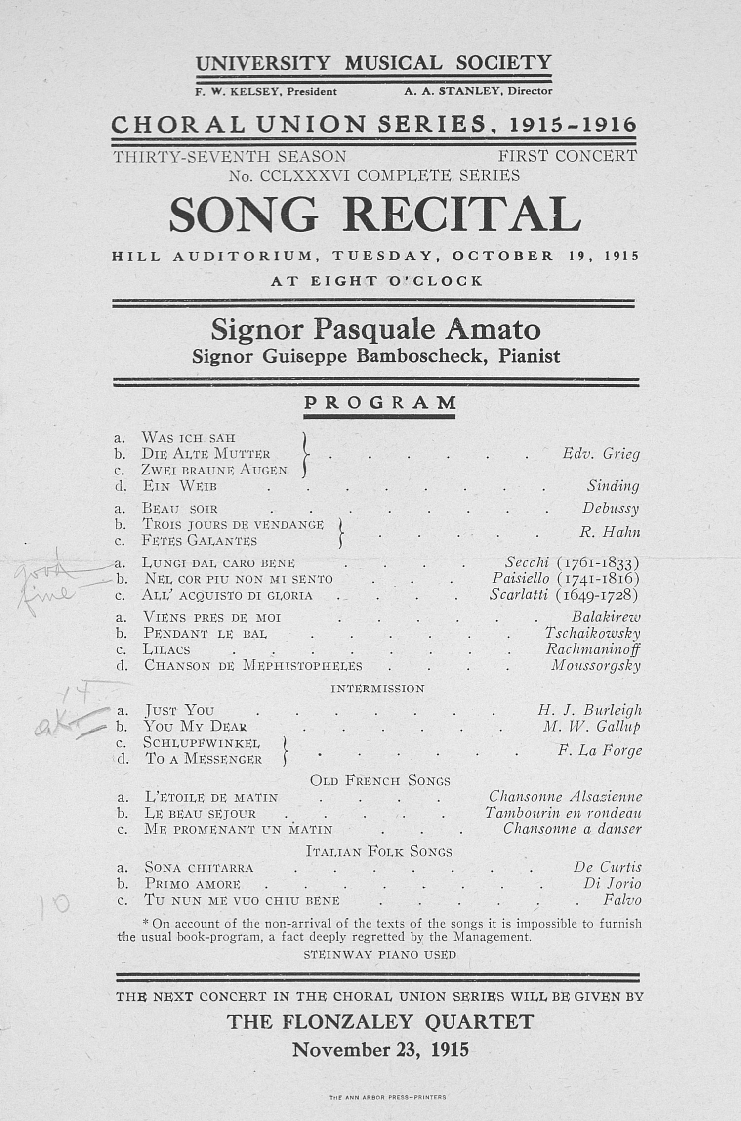 UMS Concert Program, October 19, 1915: Song Recital -- Signor Pasquale Amato image