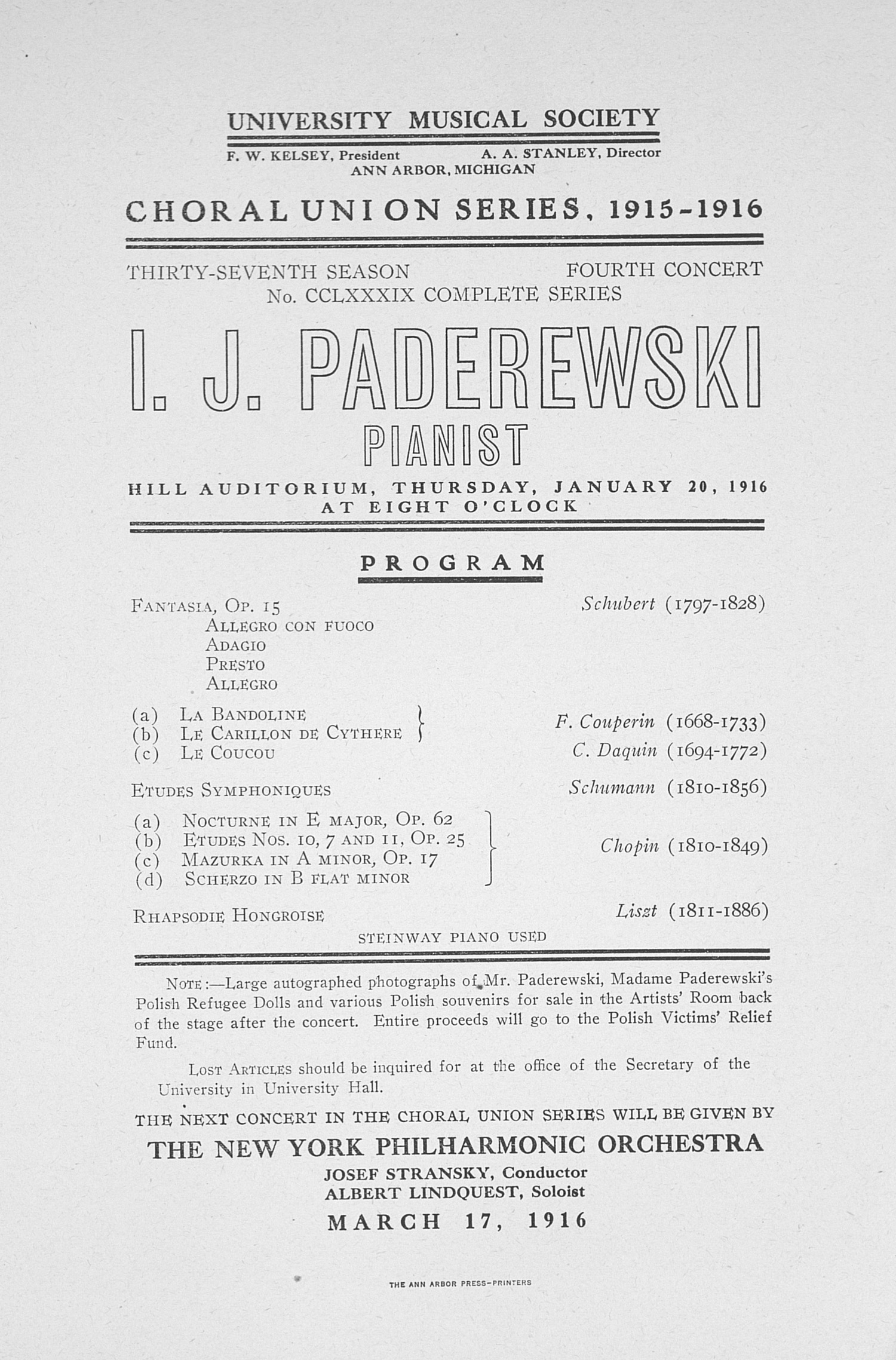 UMS Concert Program, January 20, 1916: Choral Union Series -- I. J. Paderewski  image