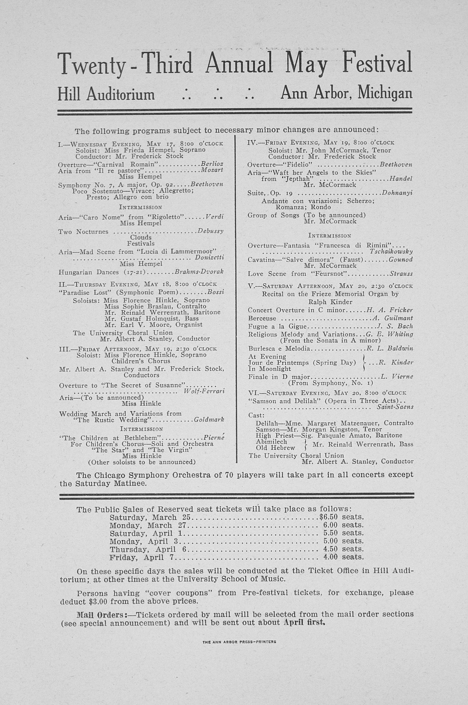 UMS Concert Program, March 17, 1916: New York Philharmonic Orchestra -- Josef Stransky image