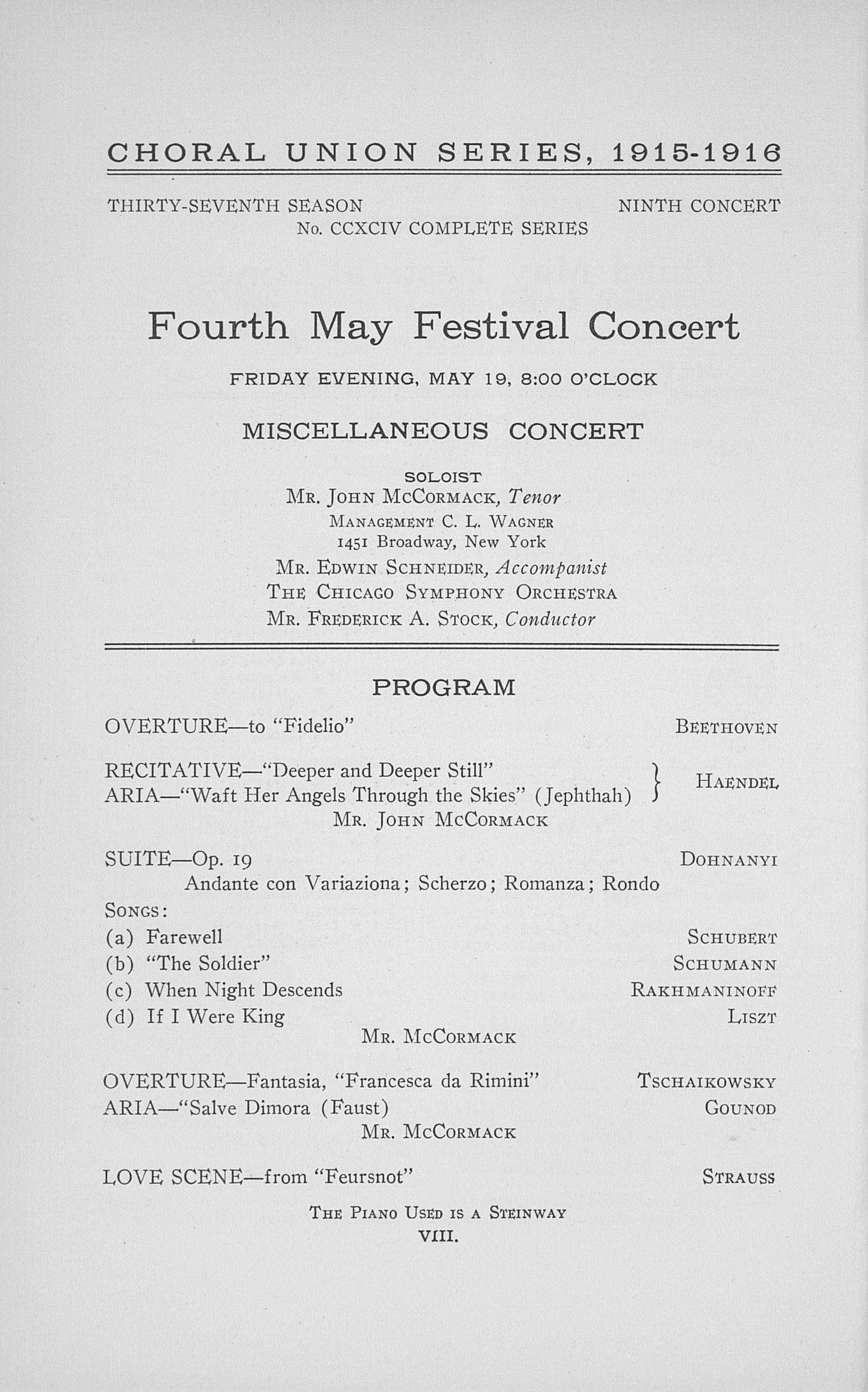 UMS Concert Program, May 17, 18, 19, 20 1916: Twenty-third Annual May Festival Of The University Of Michigan -- Choral Union Series image