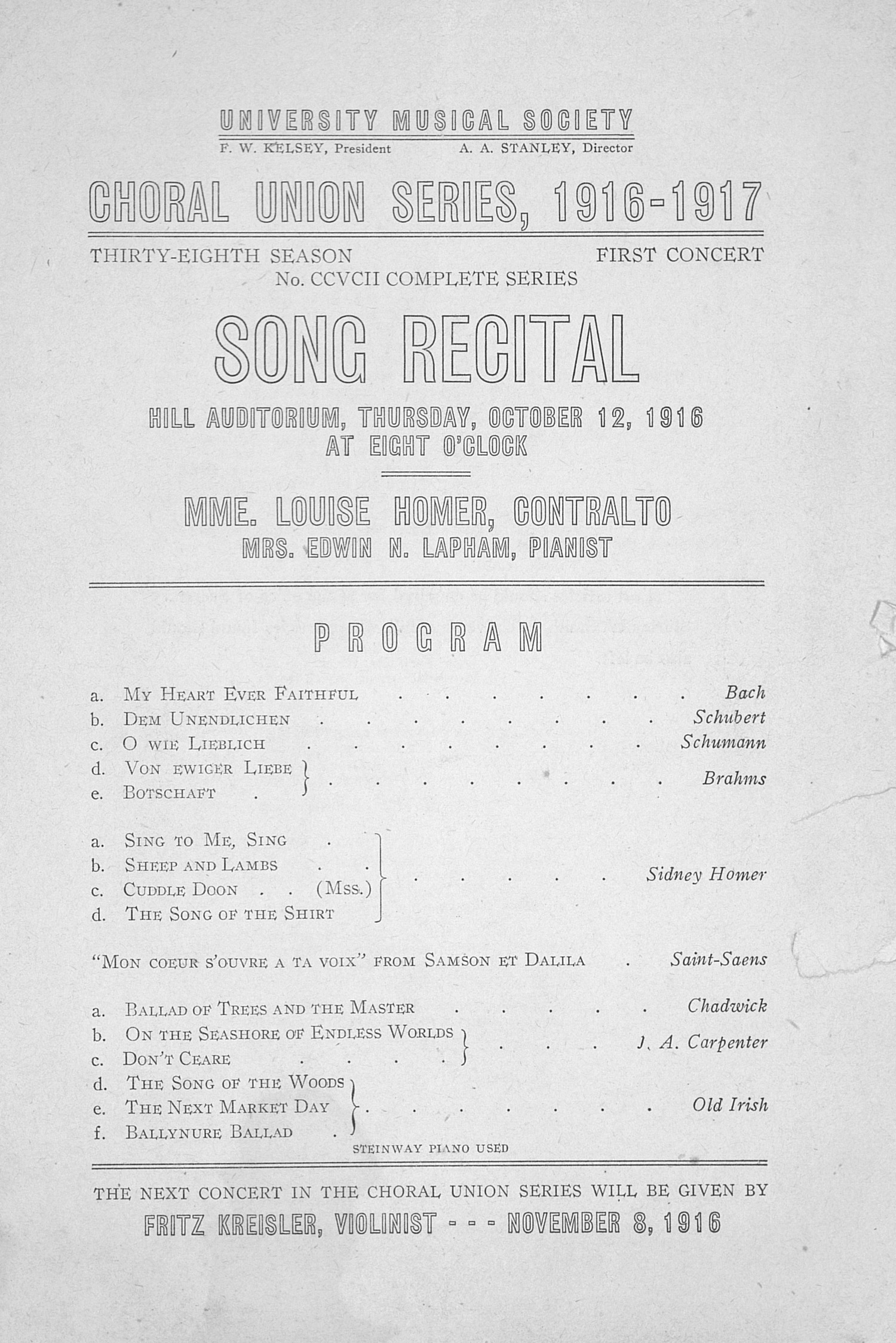 UMS Concert Program, October 12, 1916: Choral Union Series -- Mme. Louise Homer image