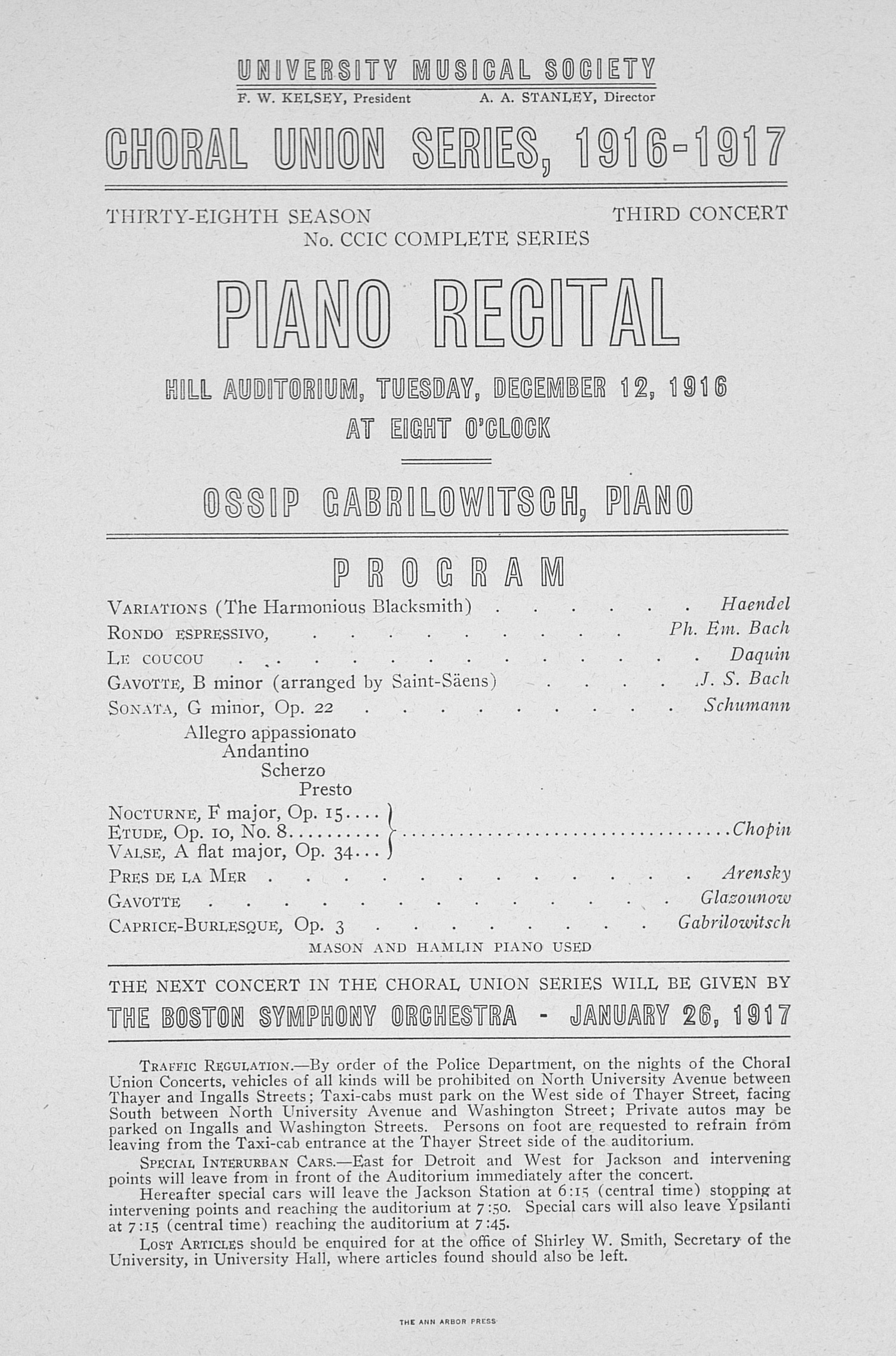 UMS Concert Program, December 12, 1916: Choral Union Series -- Ossip Cabrilowitsch image