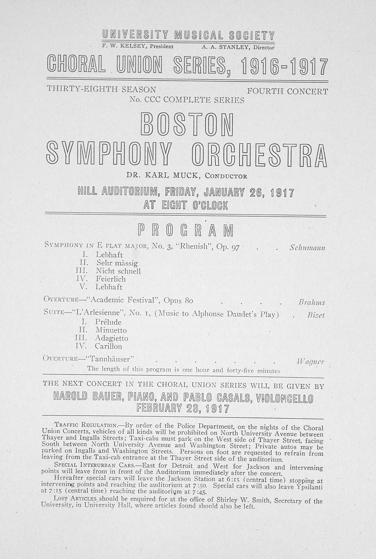 UMS Concert Program, January 26, 1917: Choral Union Series -- Boston Symphony Orchestra image