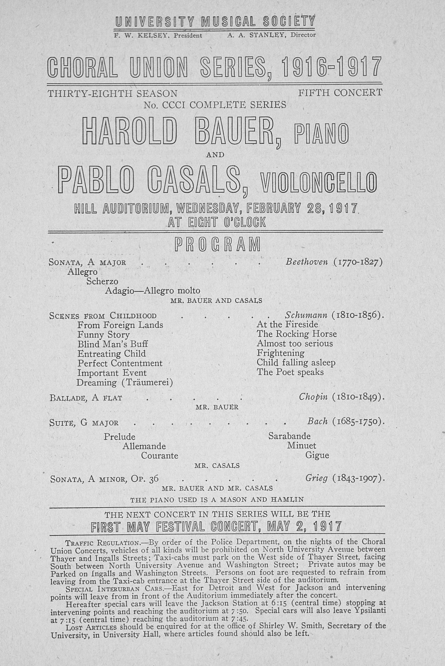 UMS Concert Program, February 28,1917: Choral Union Series -- Harold Bauer image
