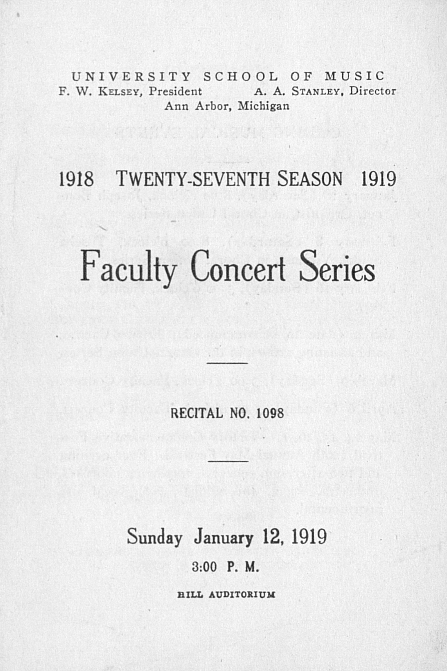 UMS Concert Program, January 12, 1919: Faculty Concert Series --  image