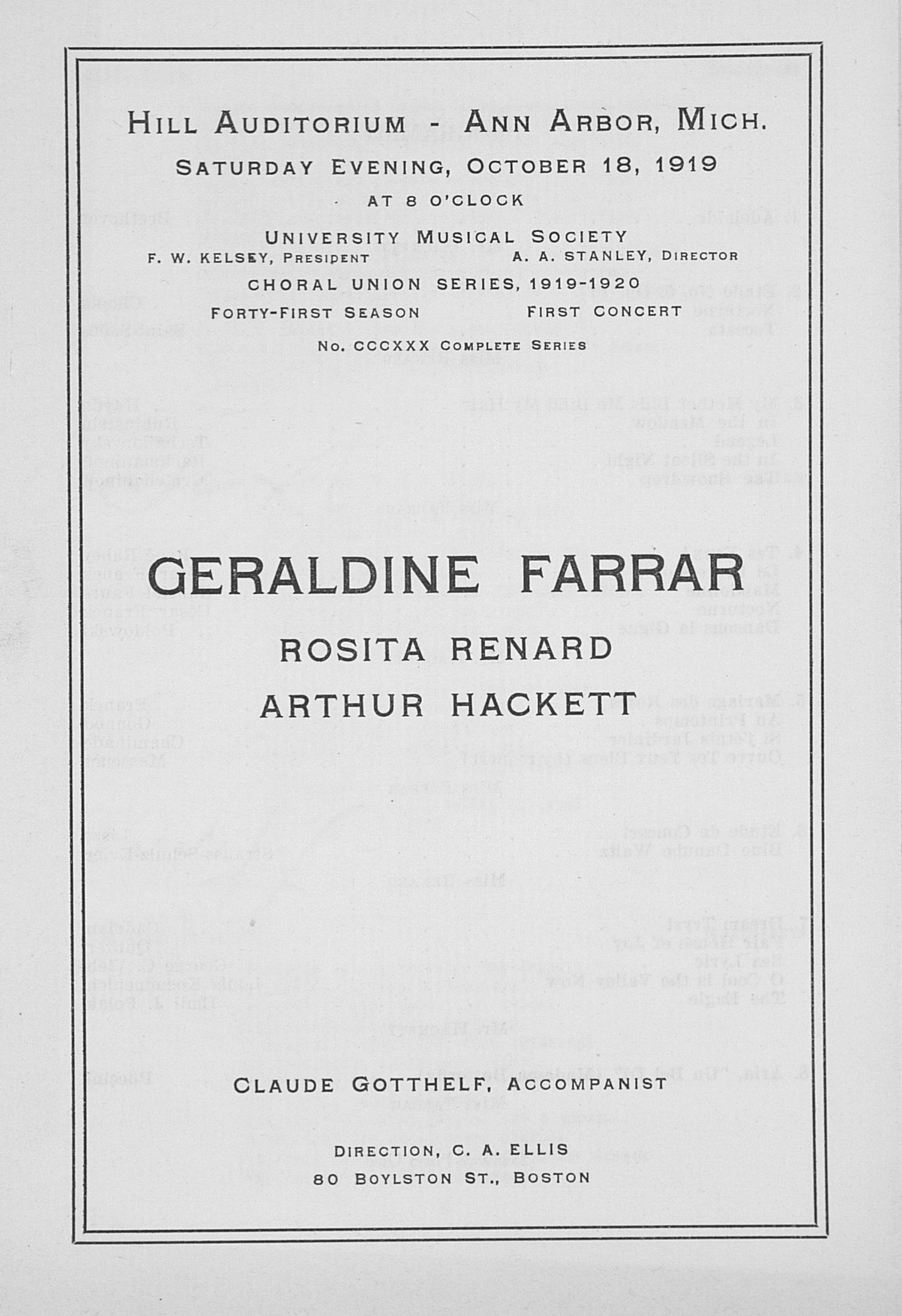 UMS Concert Program, October 18, 1919: Choral Union Series -- Geraldine Farrar image