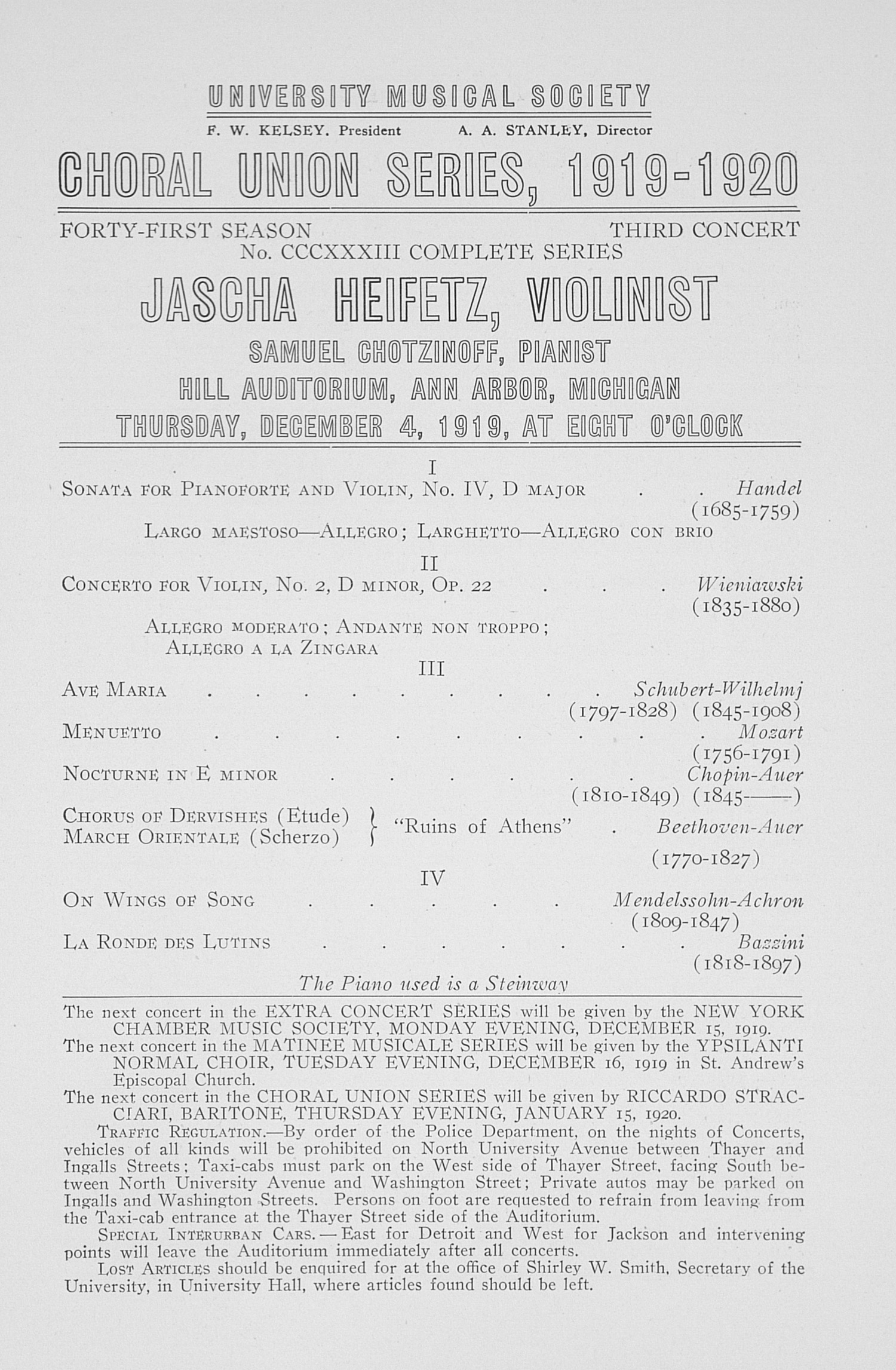 UMS Concert Program, December 4, 1919: Choral Union Series -- Jascha Helfetz image