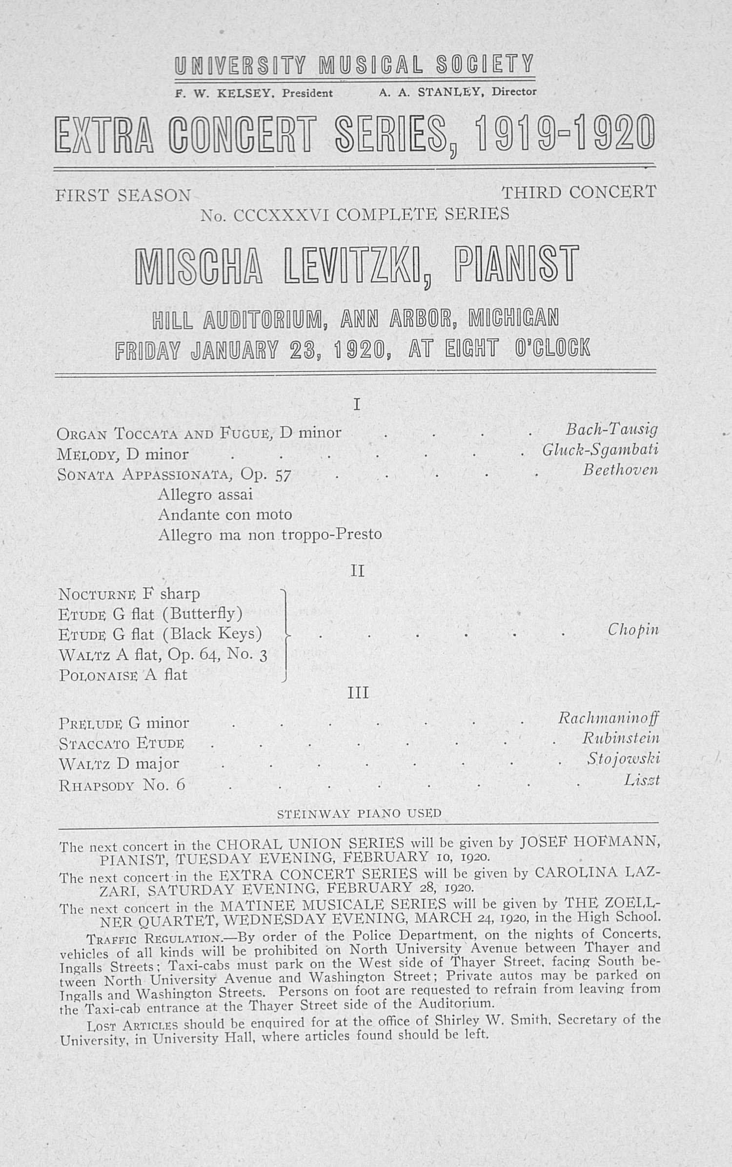 UMS Concert Program, January 23,1920: Extra Concert Series -- Mischa Levitzki image
