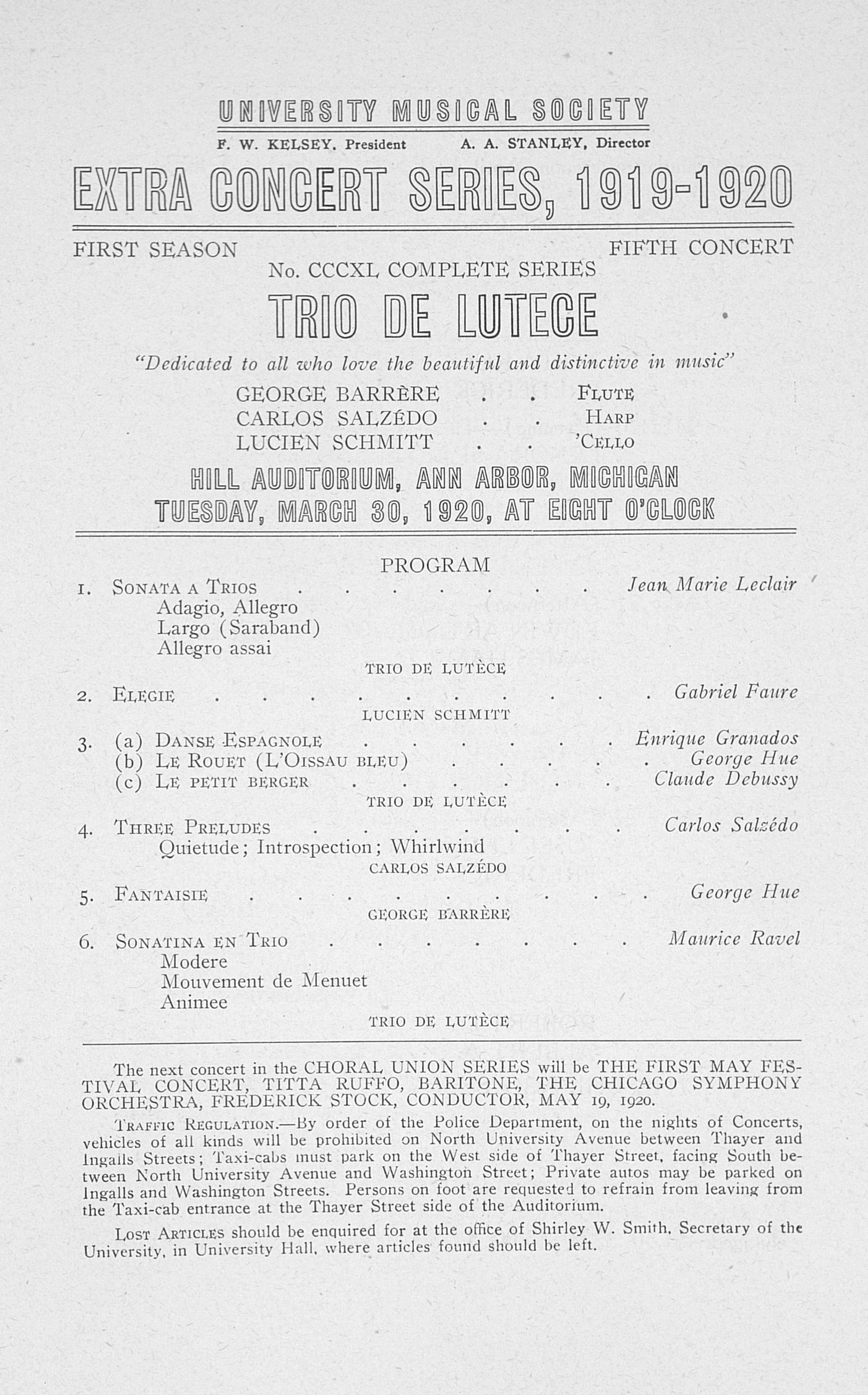 UMS Concert Program, March 30, 1920: Extra Concert Series -- Trio De Lutece image